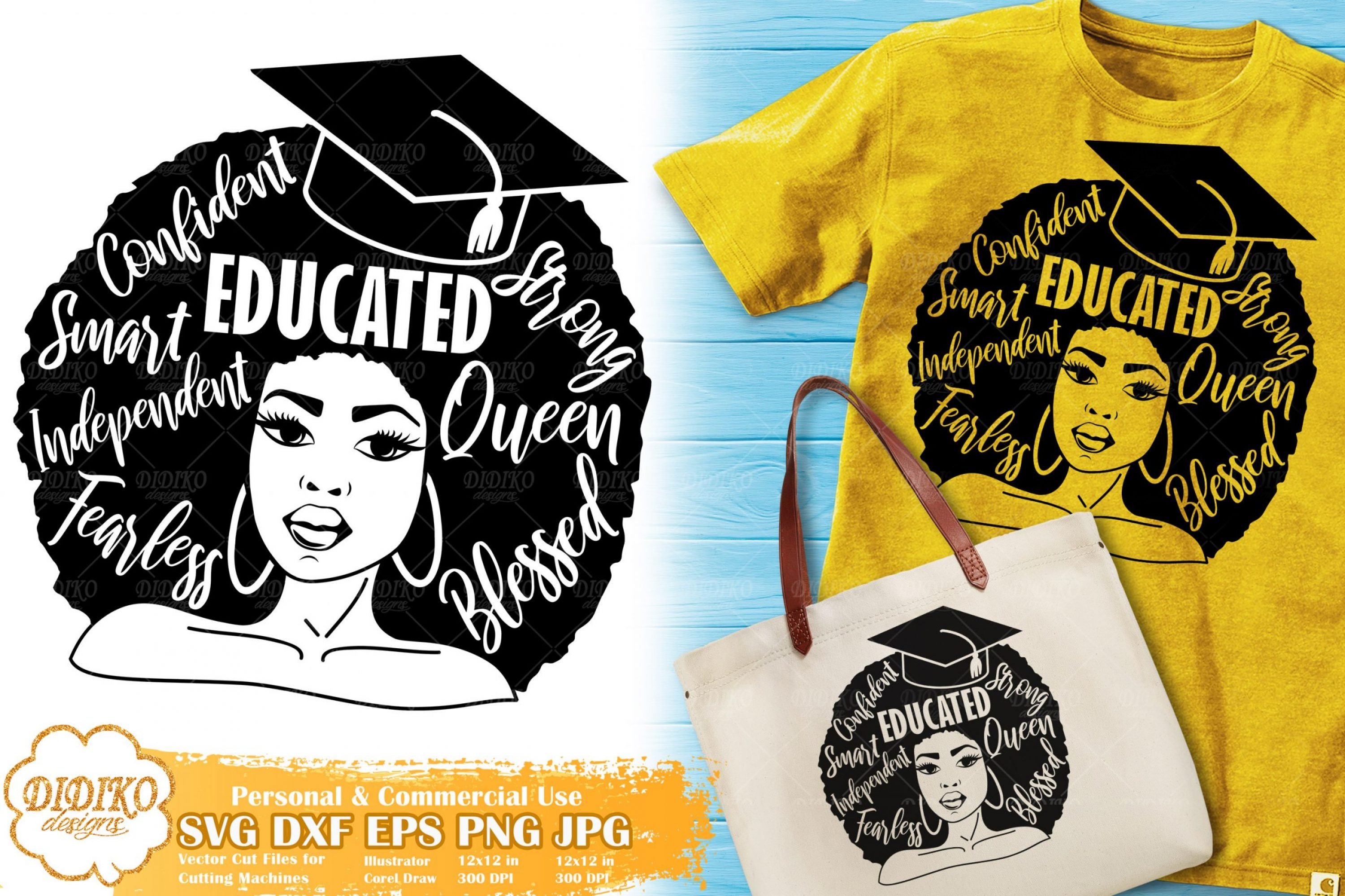 Black Woman with Words SVG #12 | Graduation SVG