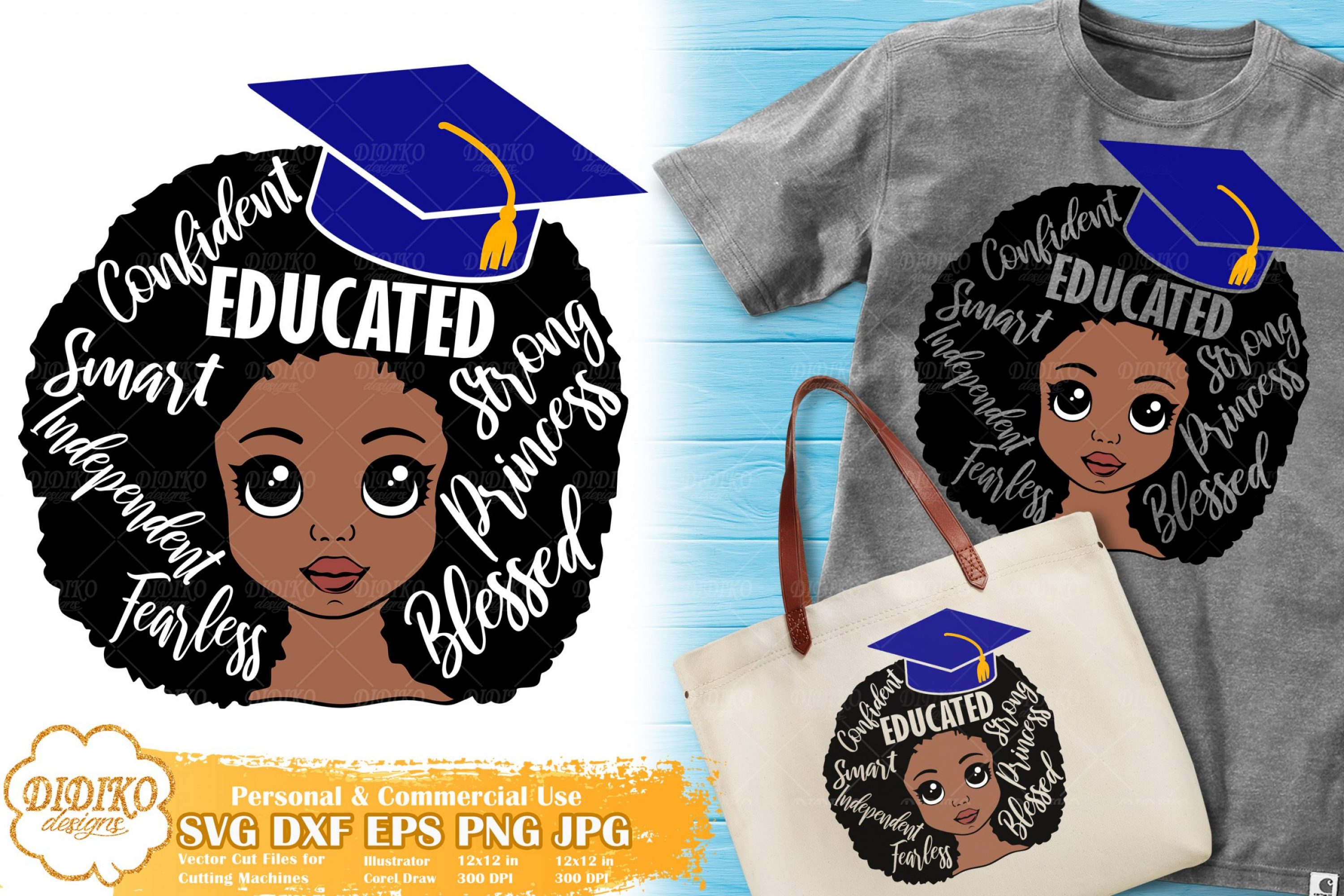 Black Girl with Words SVG #5 | Graduation Afro Girl Svg