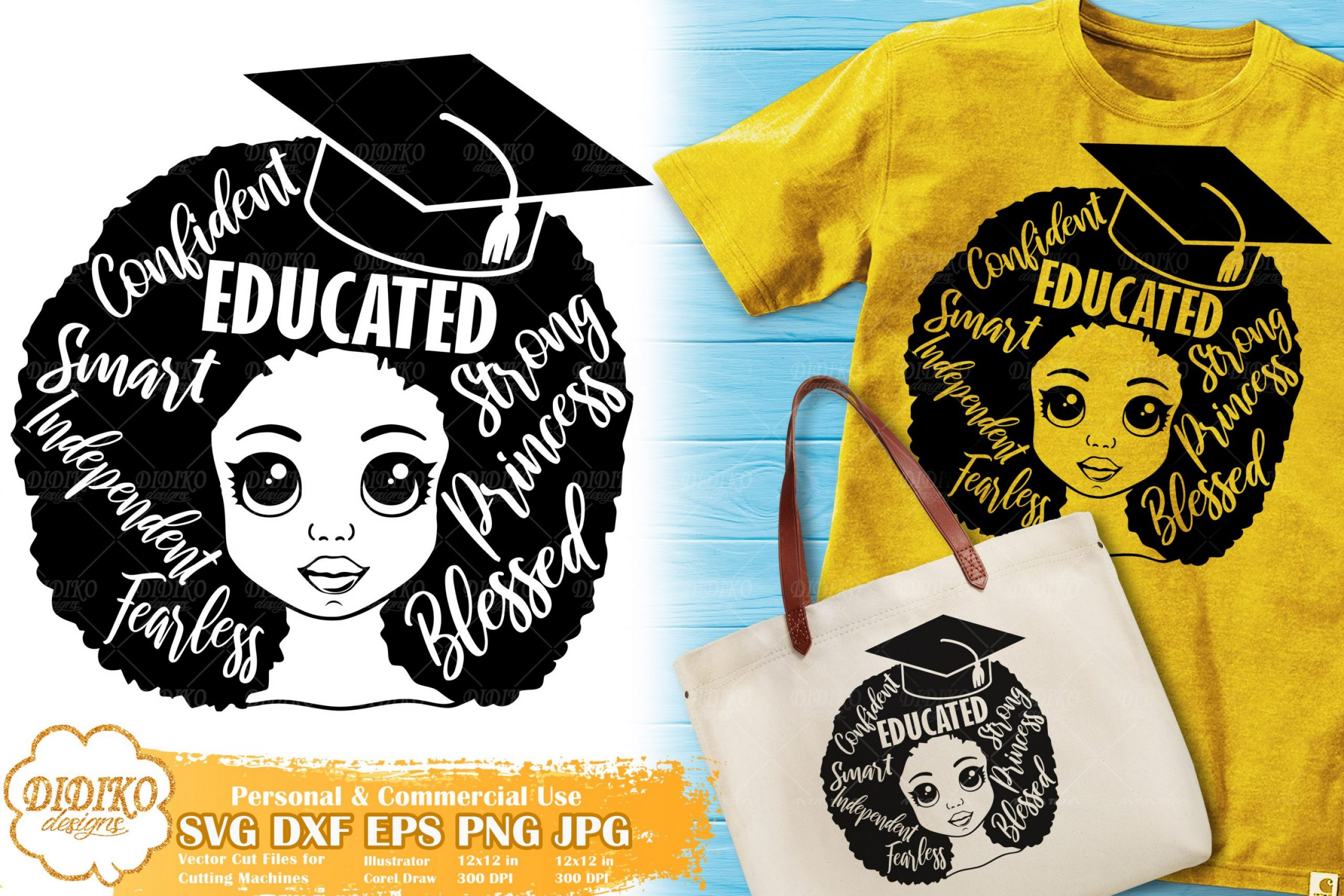 Black Girl with Words SVG #4 | Graduation Afro Girl Svg