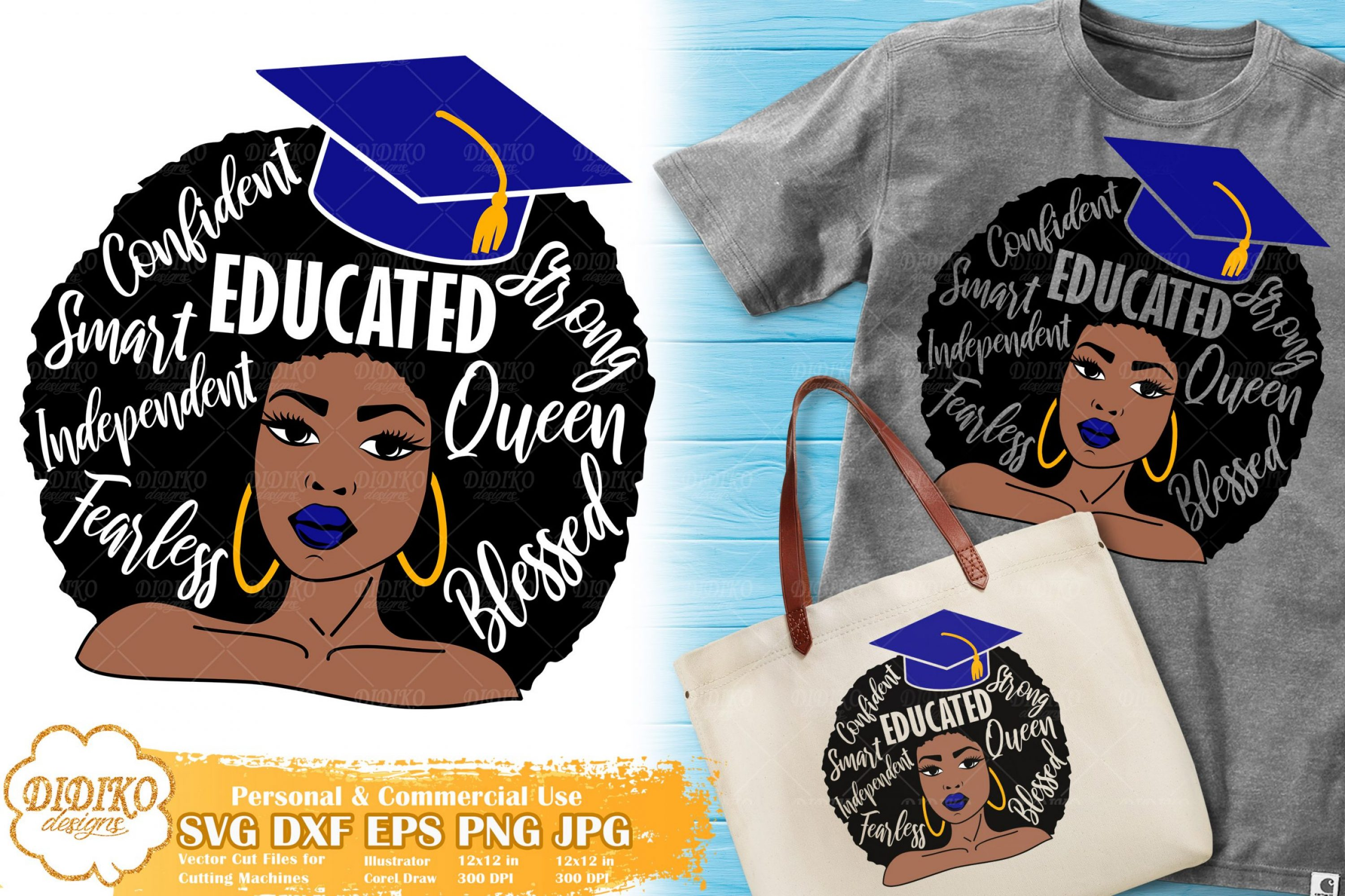 Black Woman with Words SVG #14 | Graduation SVG