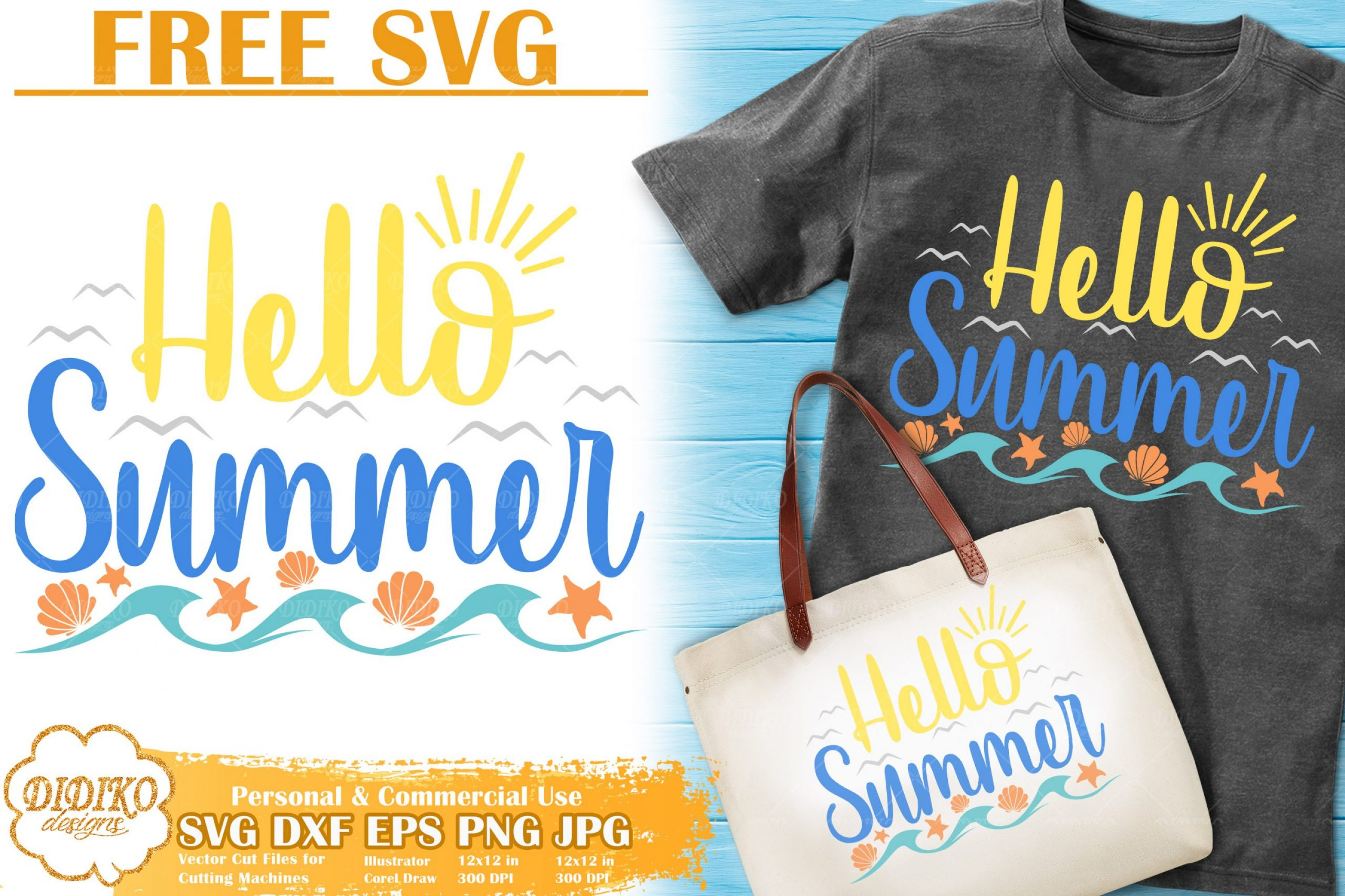 Hello Summer Free SVG | Beach Free Svg | Sea SVG