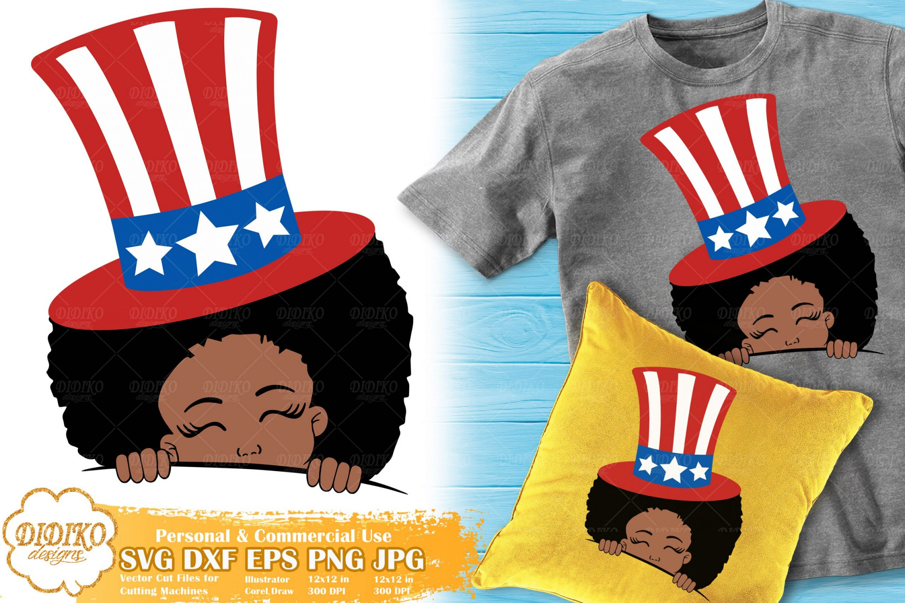Black Girl 4th of July SVG | American Hat Svg | USA Svg