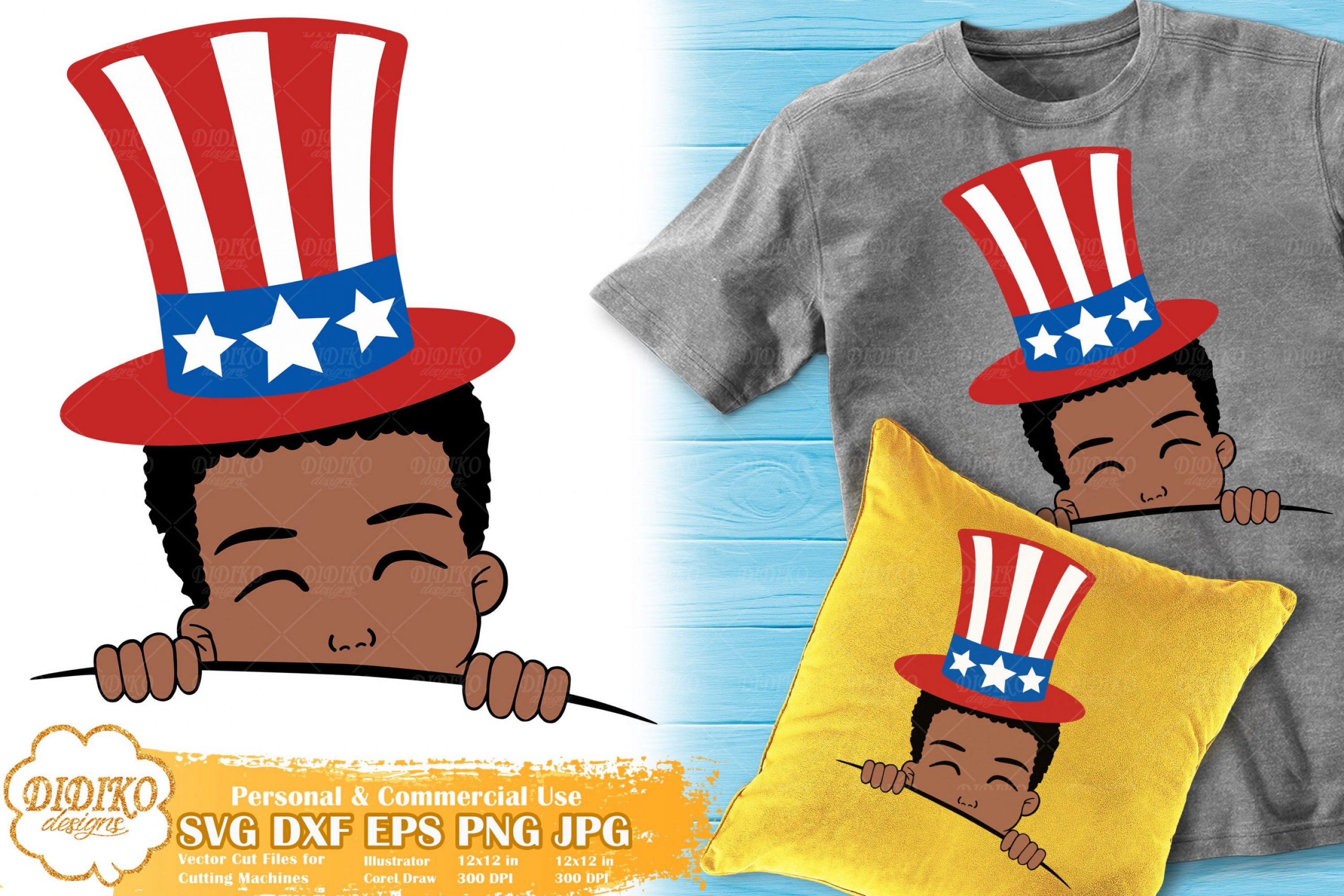 Black Boy 4th of July SVG | American Hat Svg | USA Svg