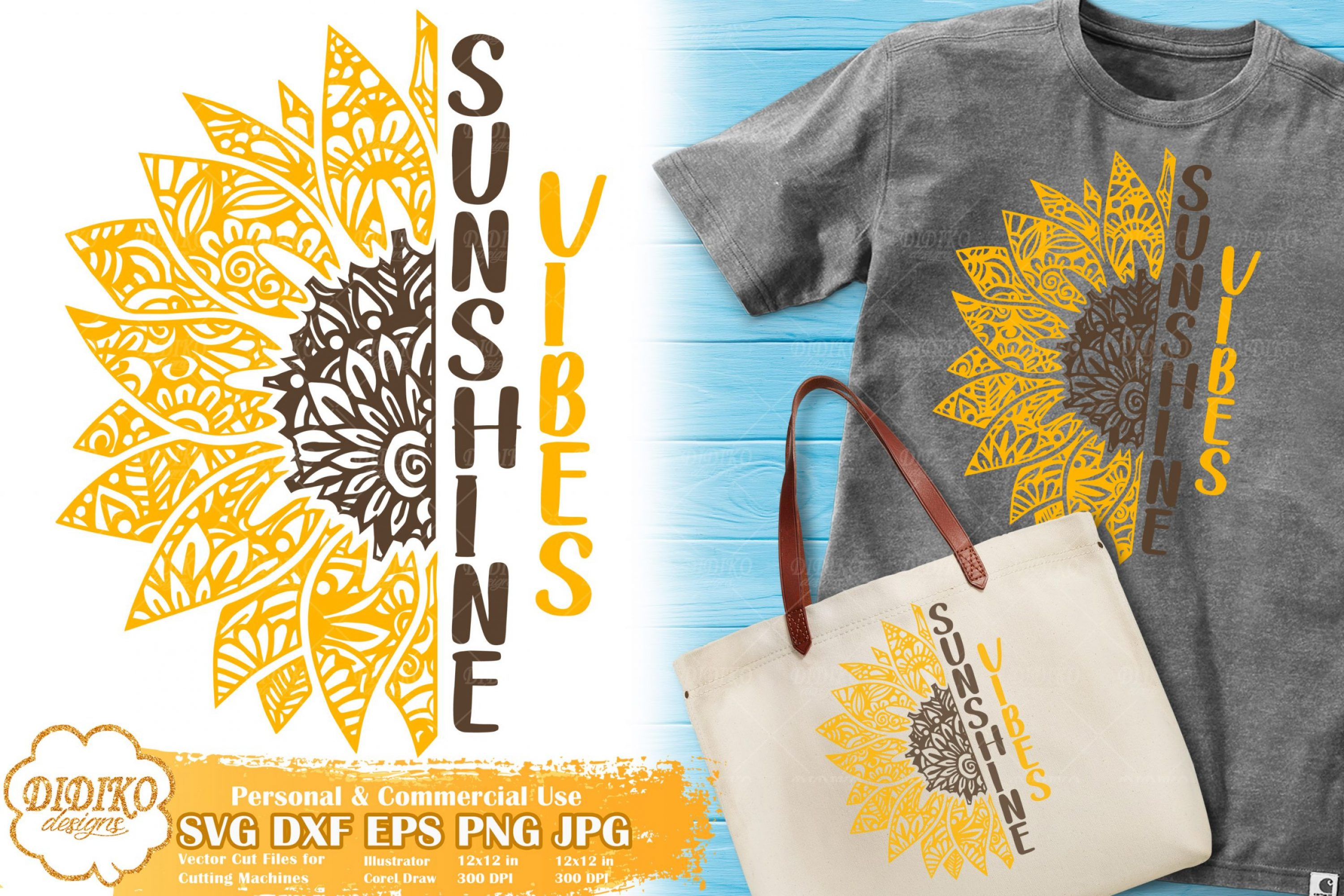 Sunflower Zentangle SVG | Sunshine Vibes SVG File