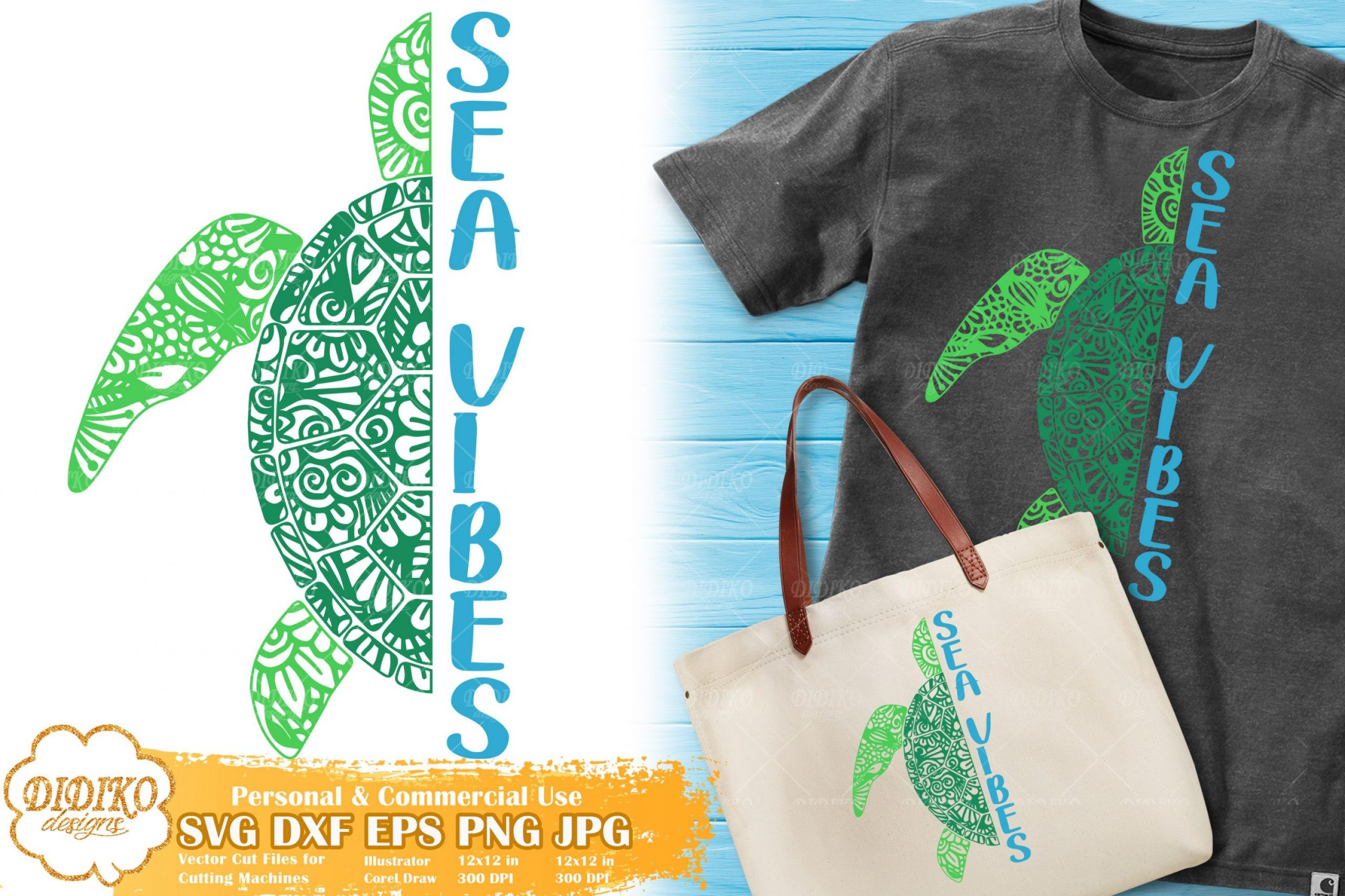 Turtle Zentangle SVG | Sea Vibes Svg | Summer Saying