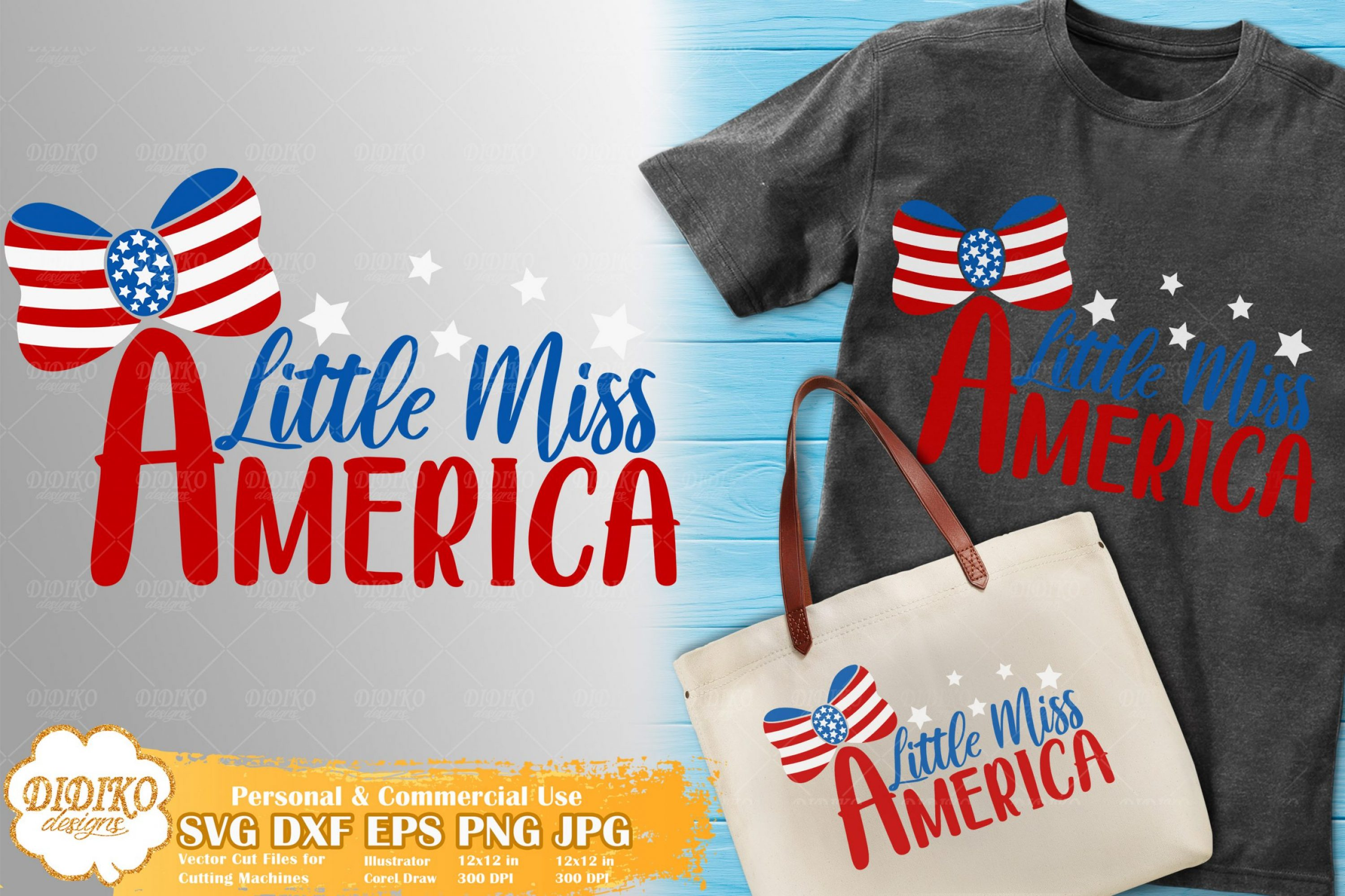 Little Miss America SVG | 4th of July Girl SVG Cricut File