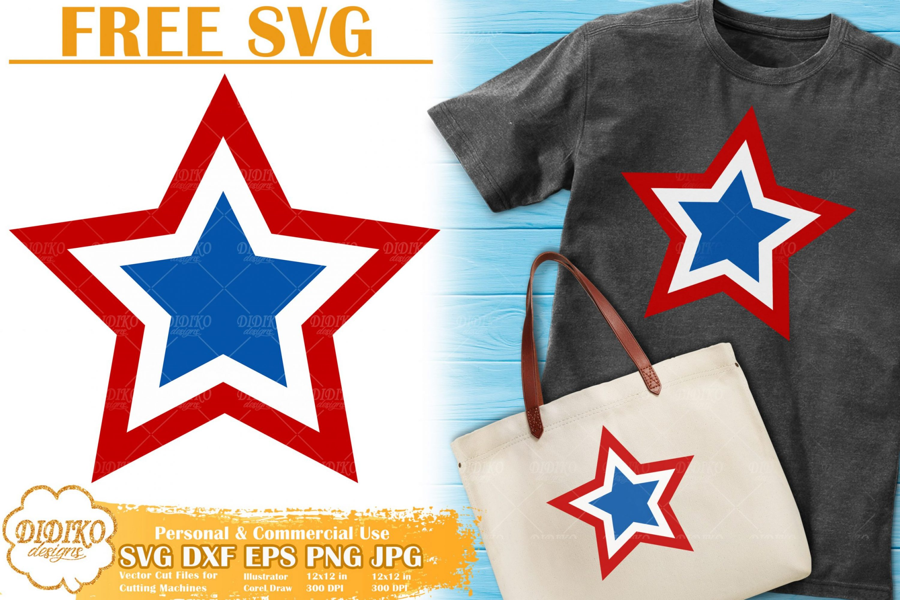 4th of July Star Free SVG | USA Flag Free SVG