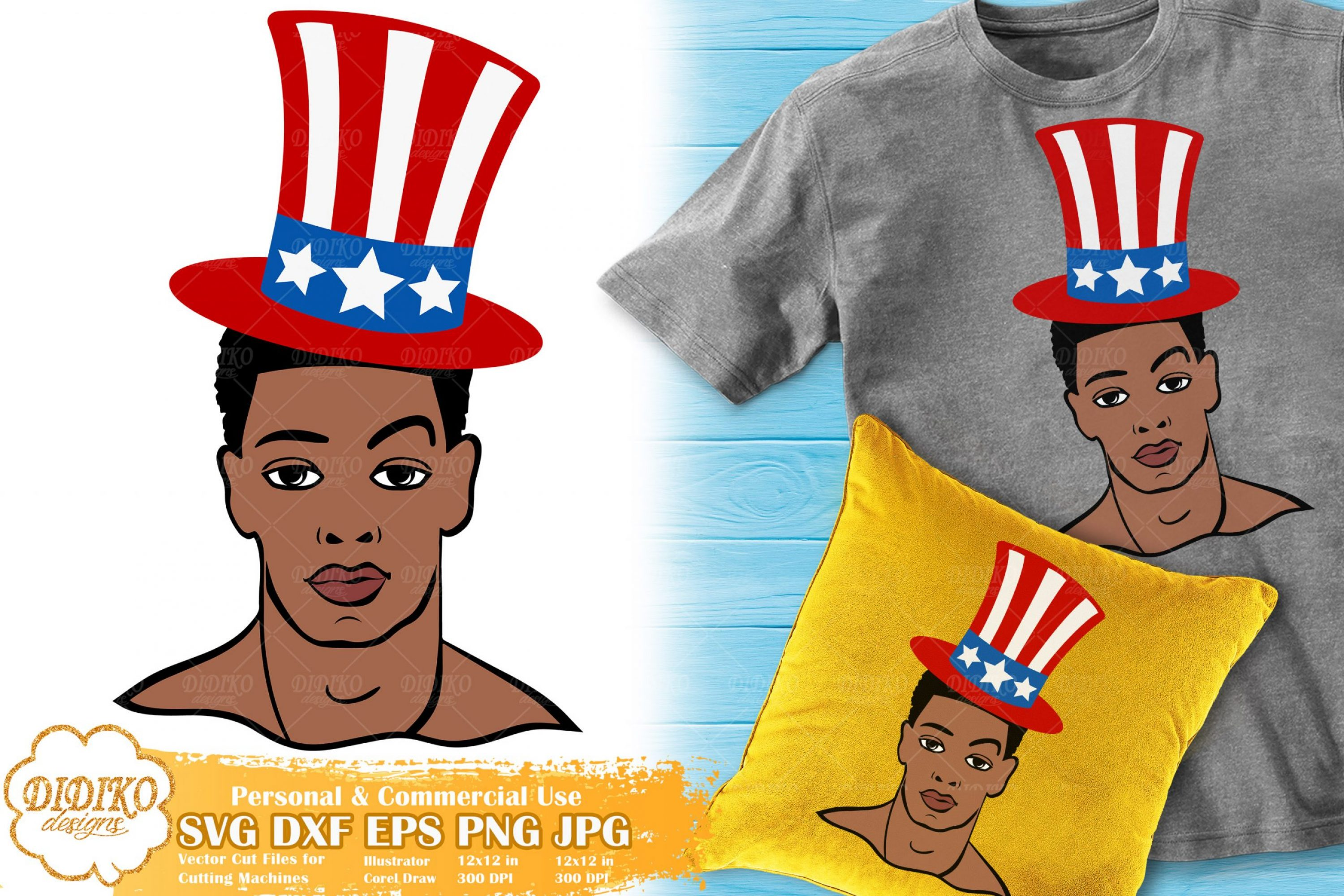 Black Man 4th of July SVG | USA Flag Hat SVG Cut File