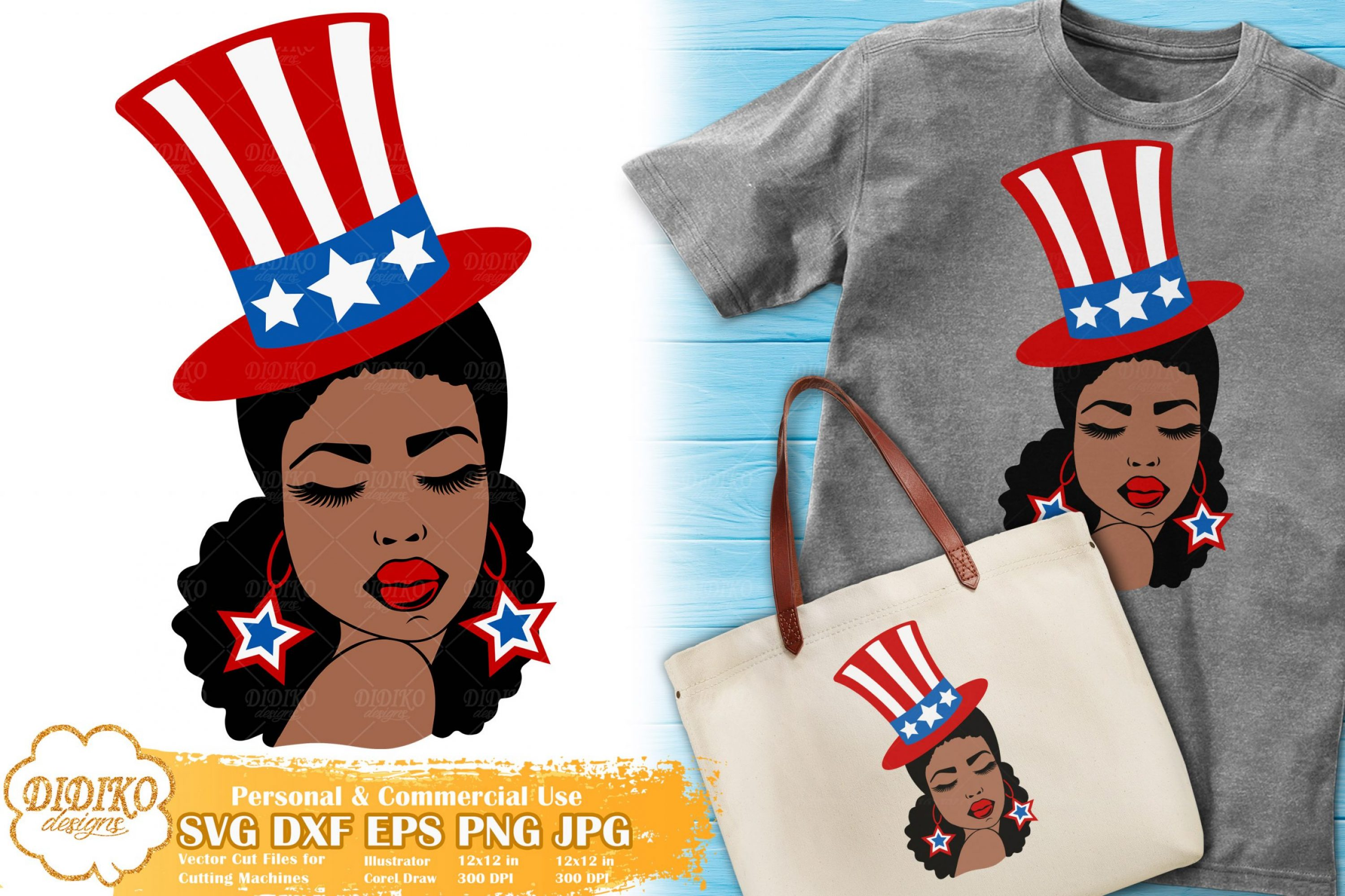 4th of July Woman SVG | Black woman svg | USA cut file