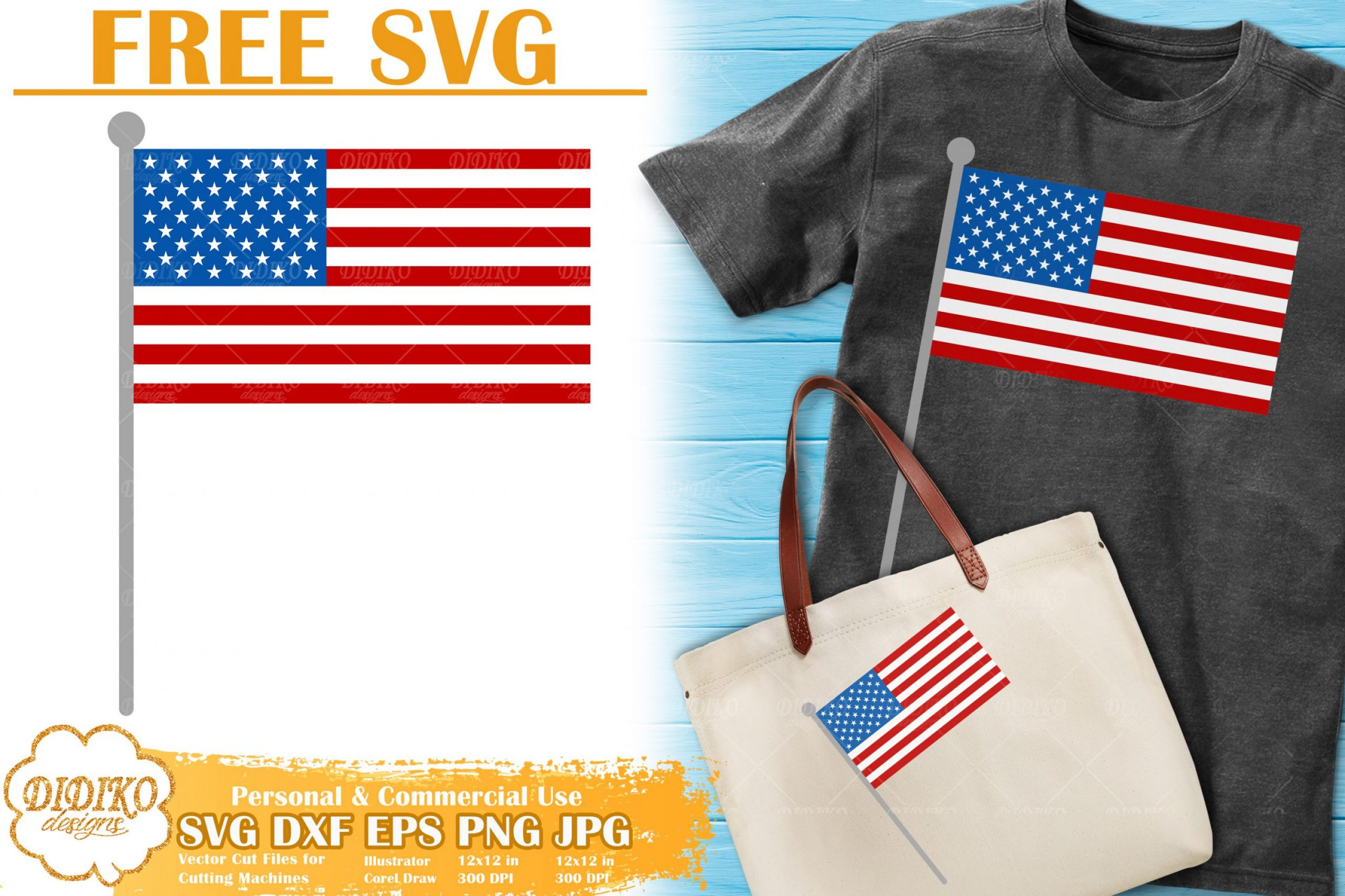 American Flag Free SVG | 4th of July Free SVG Cricut