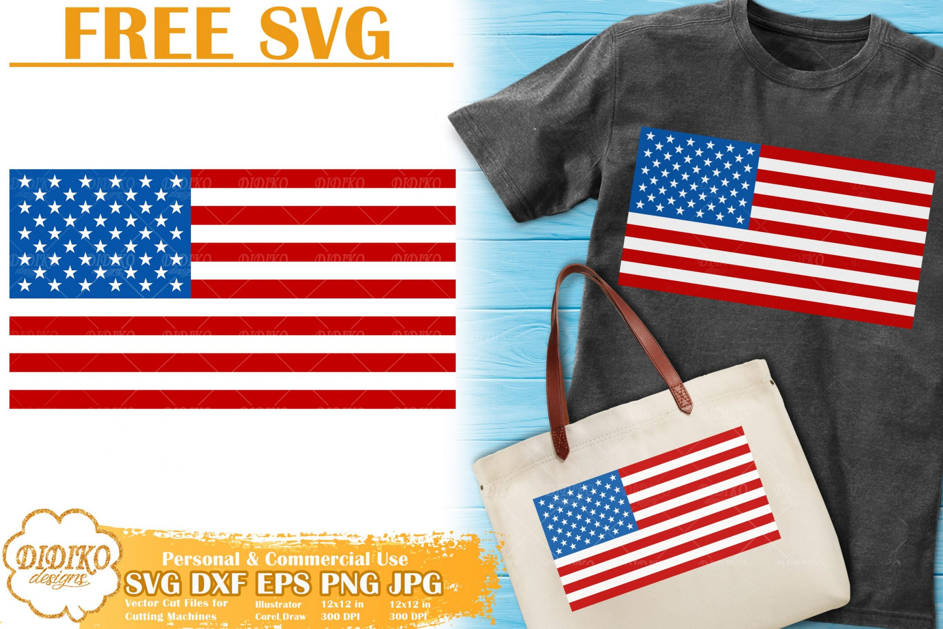 USA Flag Free SVG | 4th of July Free SVG Cricut File