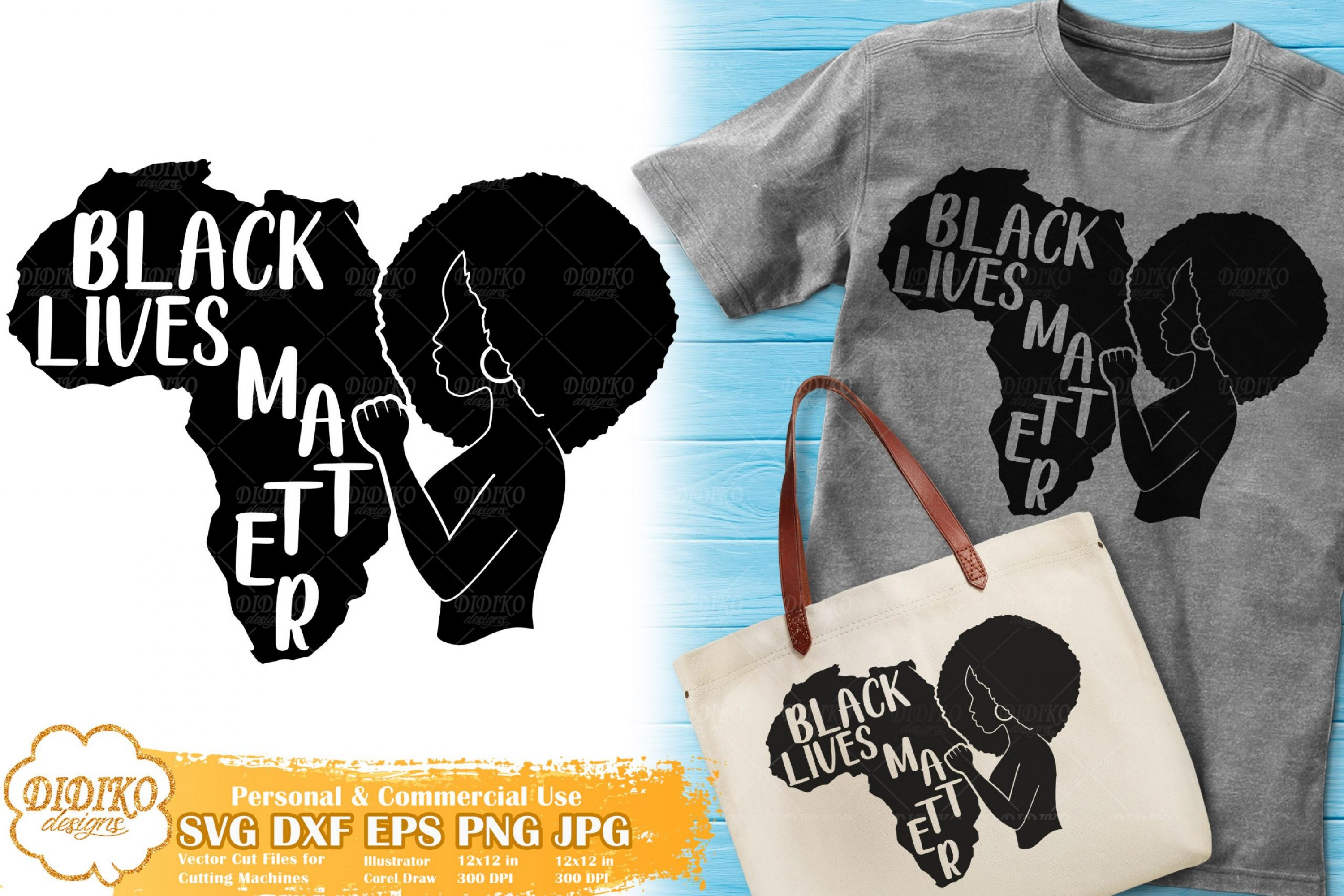 Black Lives Matter SVG #1 | Black Woman Fist SVG File