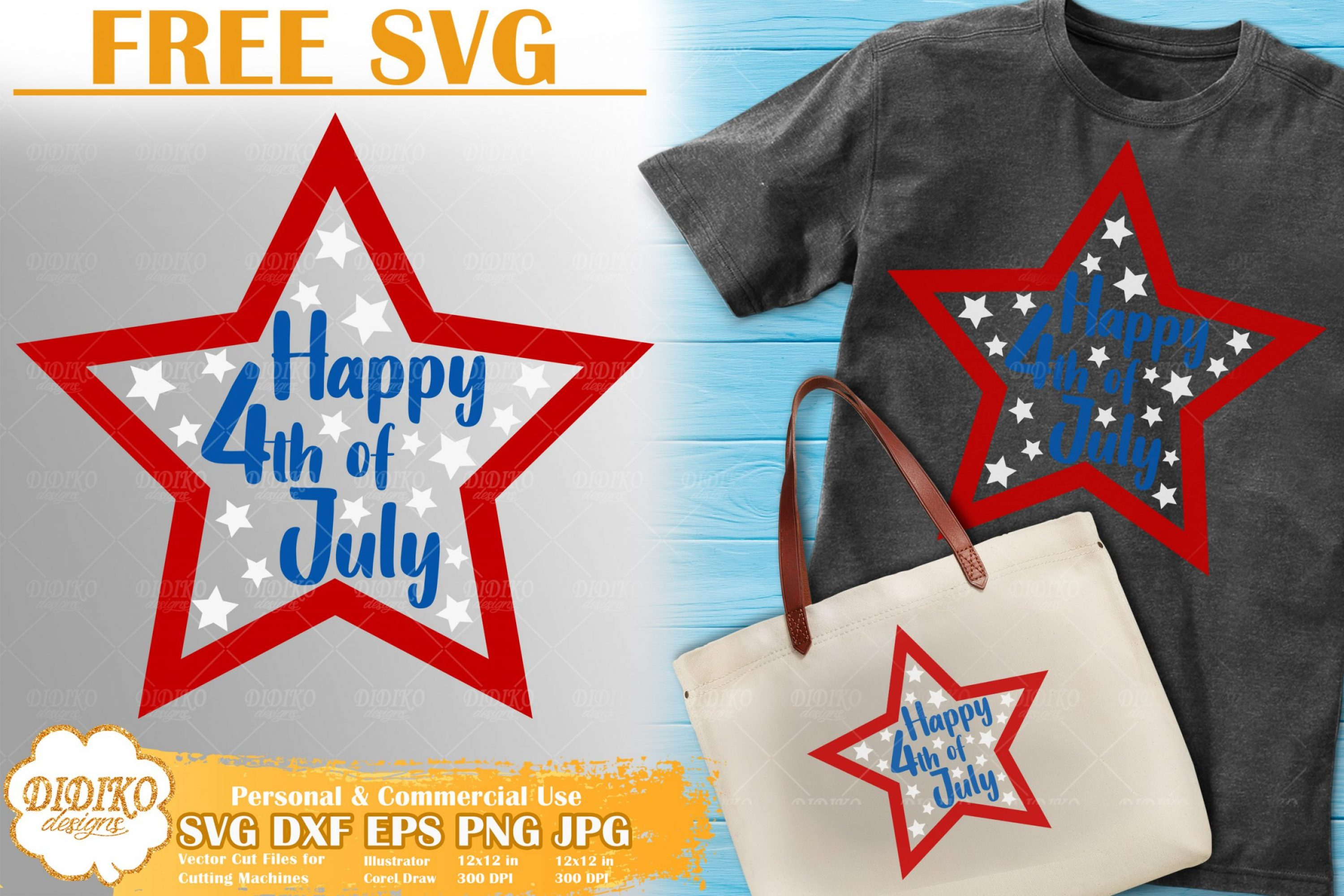 Free Happy 4th of July SVG | Free SVG Cut file for cricut