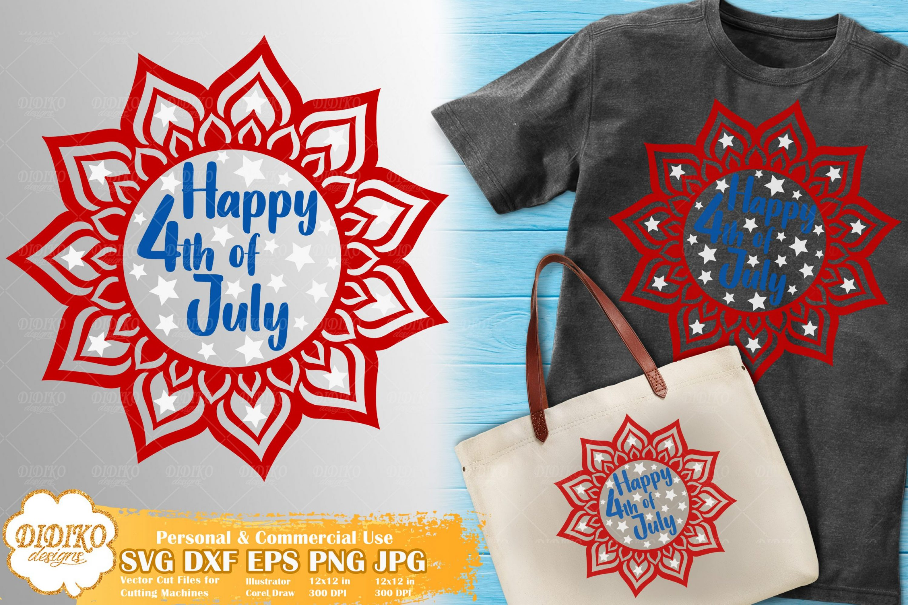 4th of July Mandala SVG | Mandala Cricut File | USA Svg