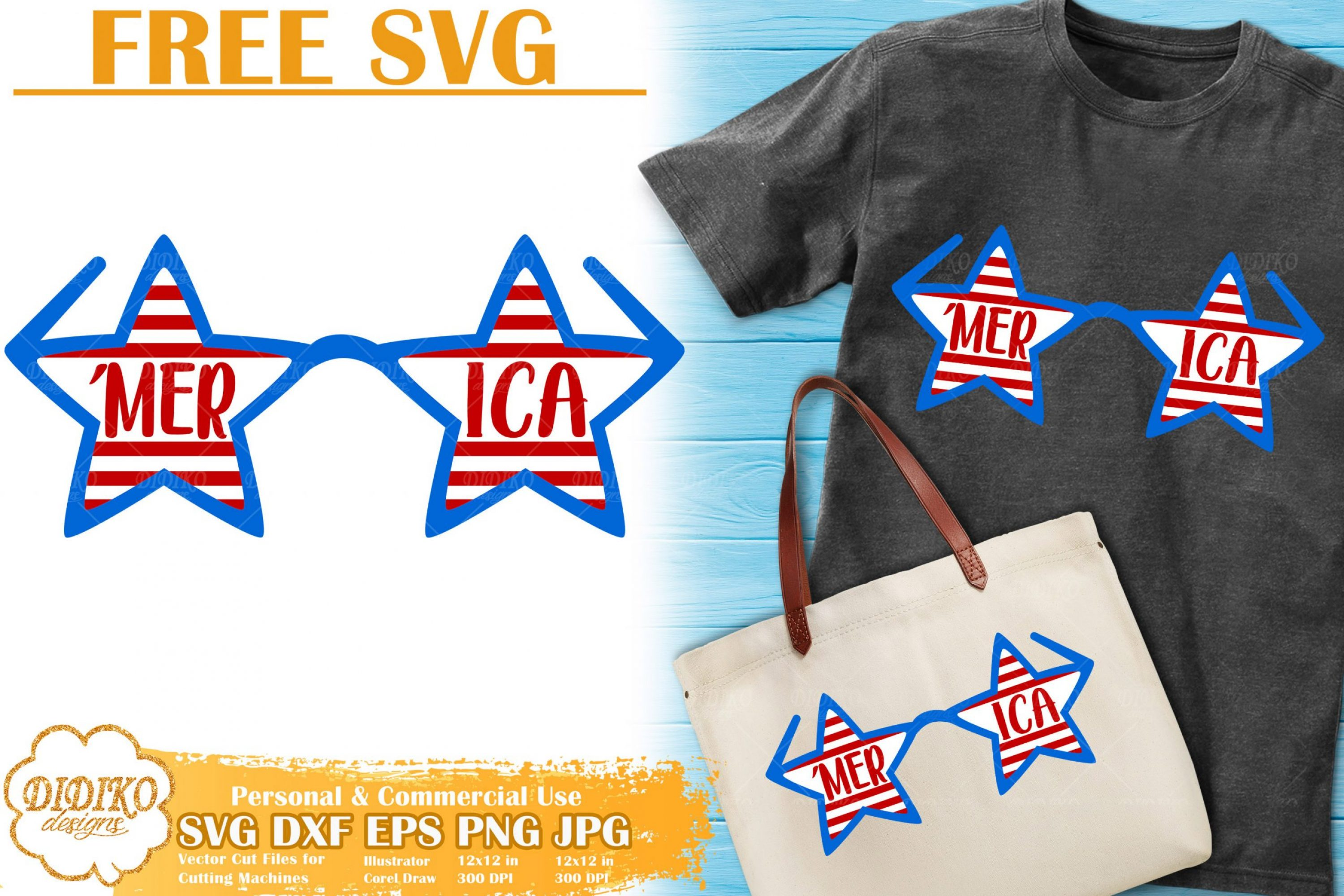 USA Glasses Free SVG | 4th of July Free SVG Cricut