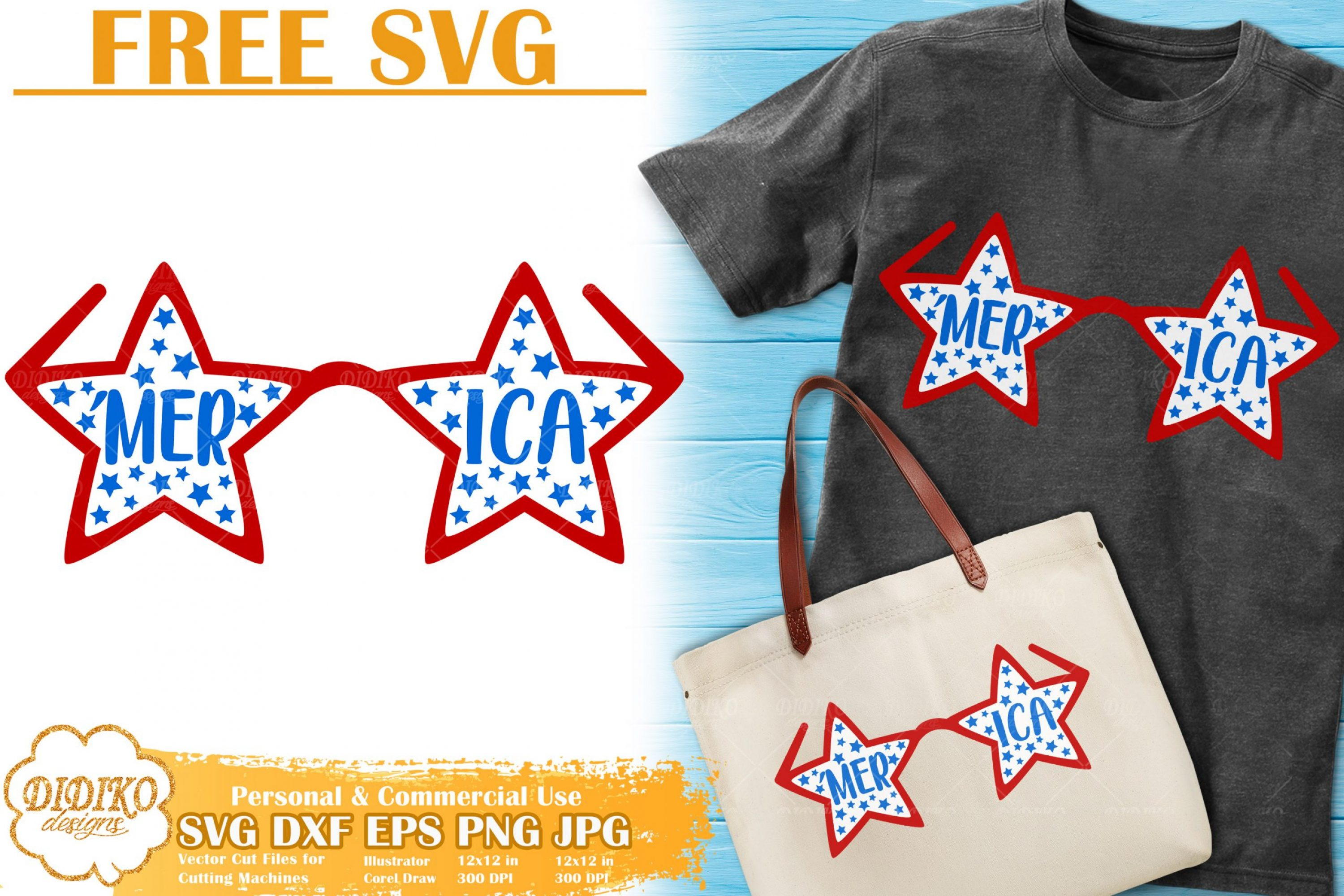 American Glasses Free SVG | 4th of July Free Svg cricut