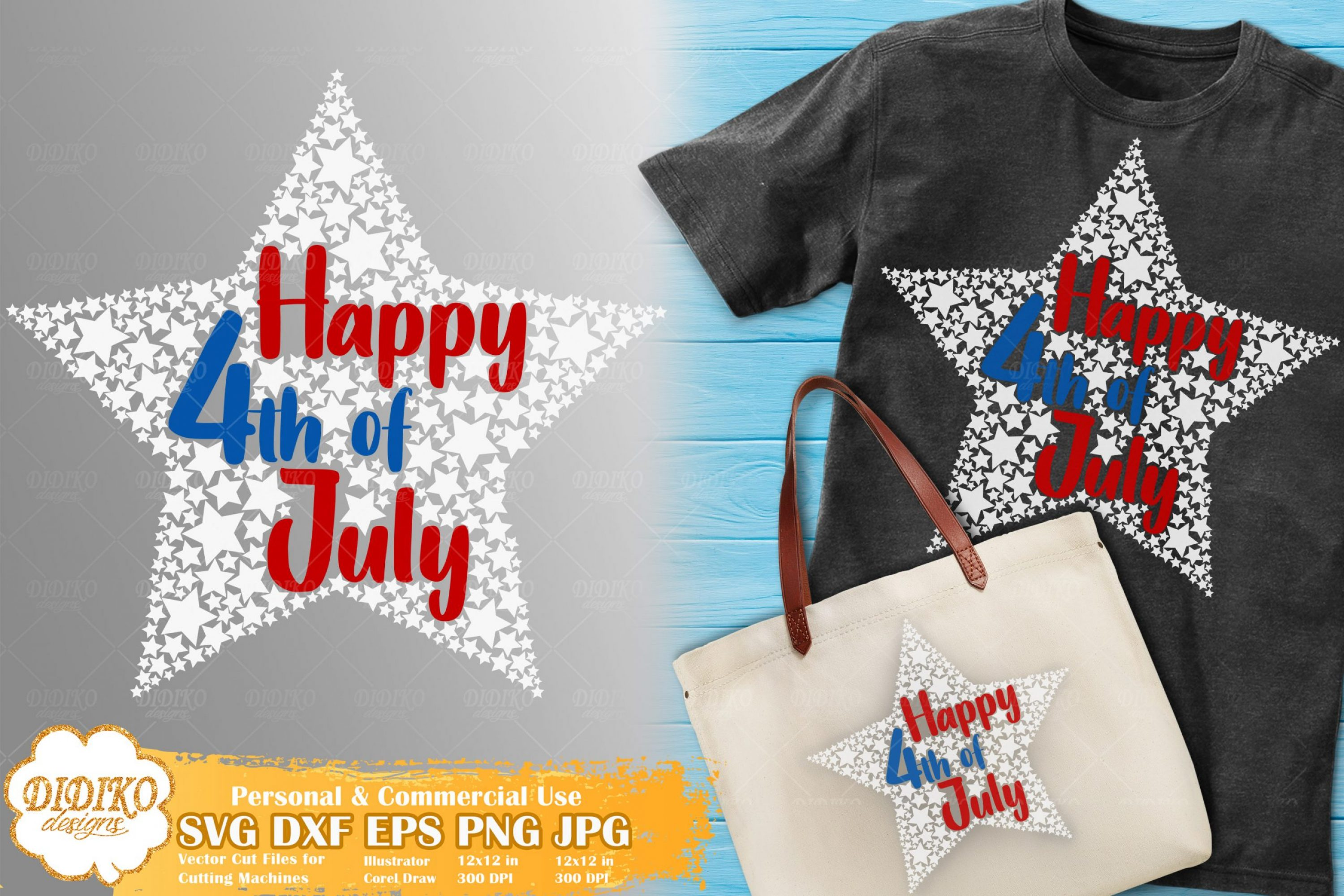 Happy 4th of July SVG #1 | SVG for Kids | USA Stars svg