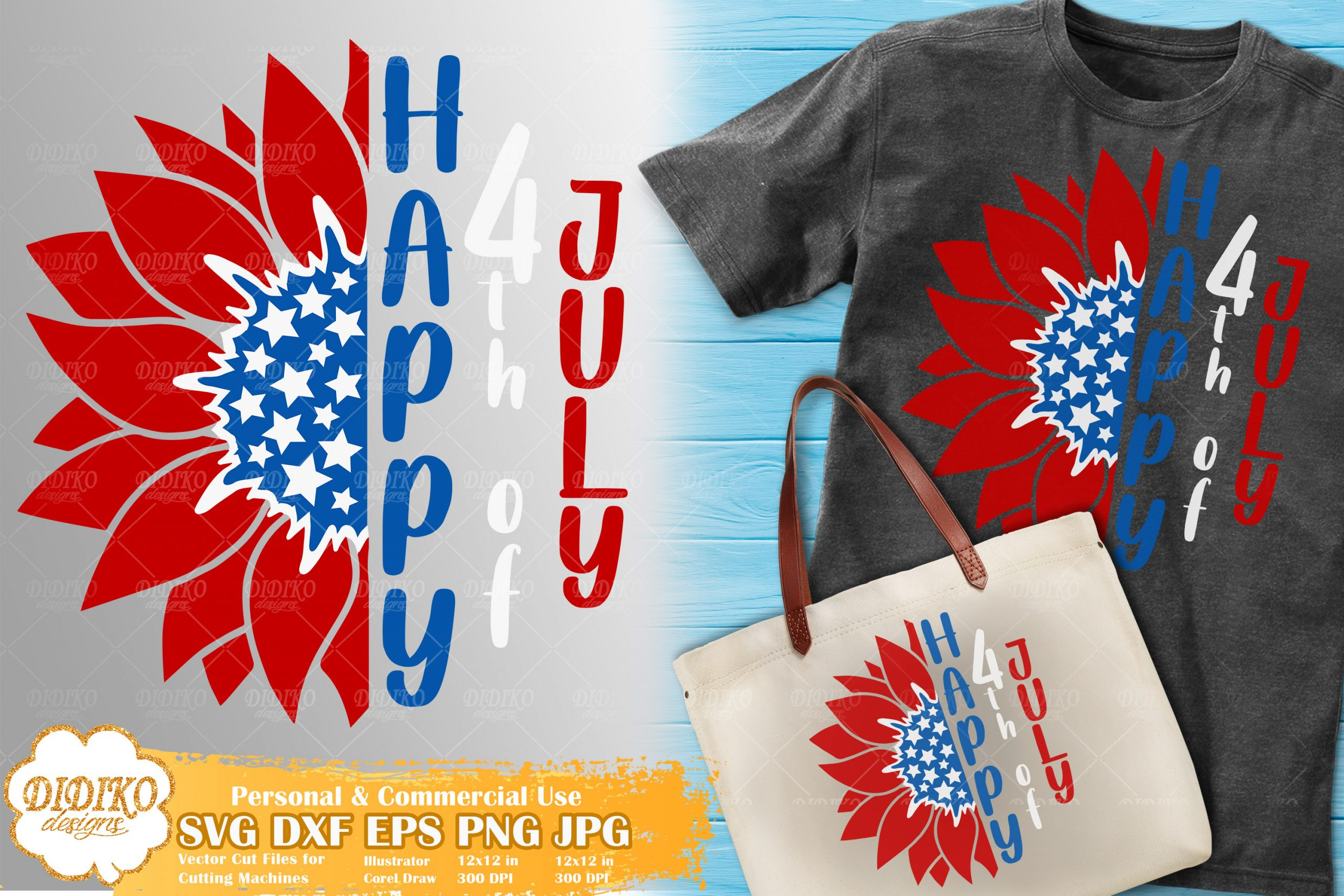 4th of July Sunflower SVG