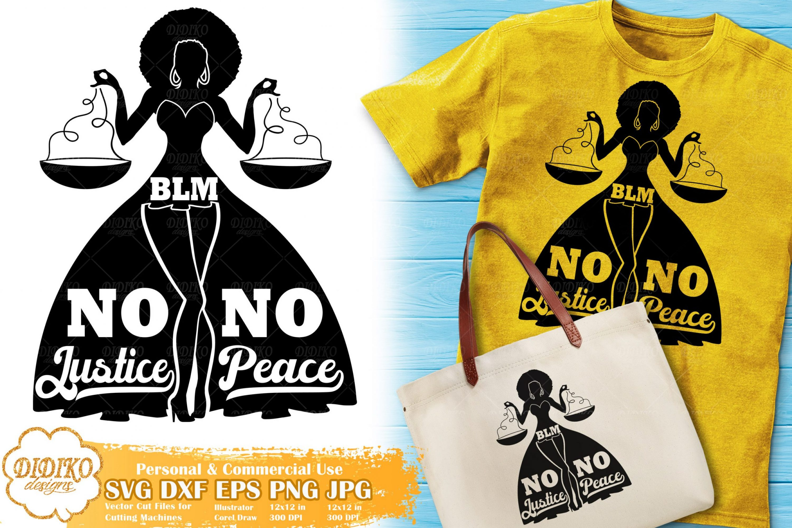 Black Woman with Words SVG #21 | No justice no peace
