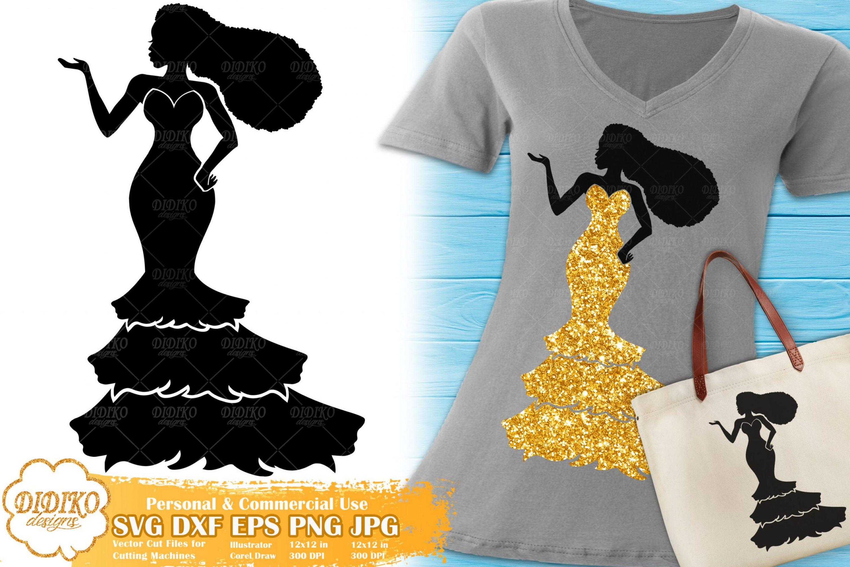 Black Woman Fashion SVG #19 | Afro Woman in Dress