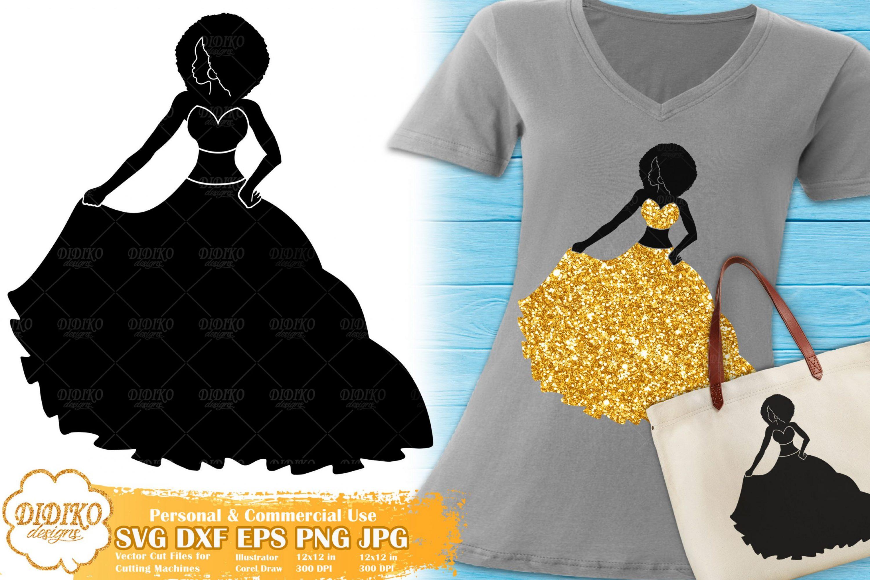 Black Woman Fashion SVG #10 | Afro Woman in Dress