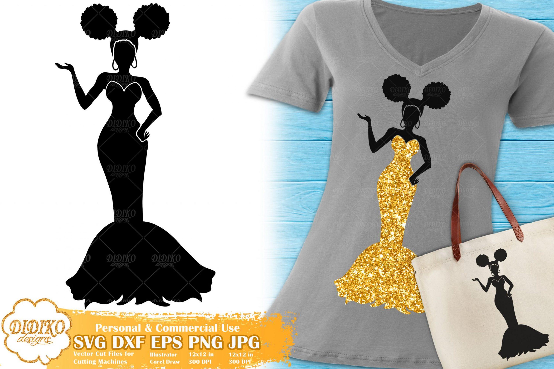 Black Woman Fashion SVG #15 | Afro Woman in Dress
