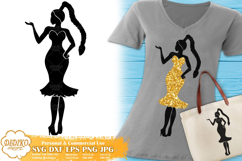 Black Woman Fashion SVG #16 | Afro Woman in Dress