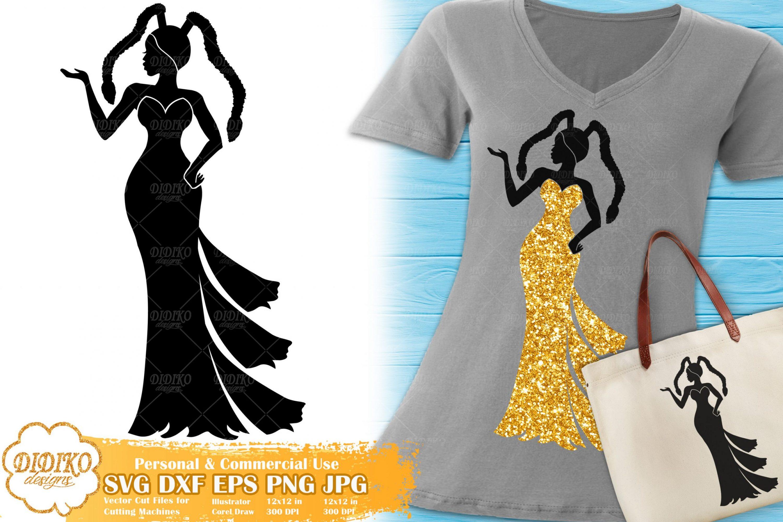 Black Woman Fashion SVG #17 | Afro Woman in Dress