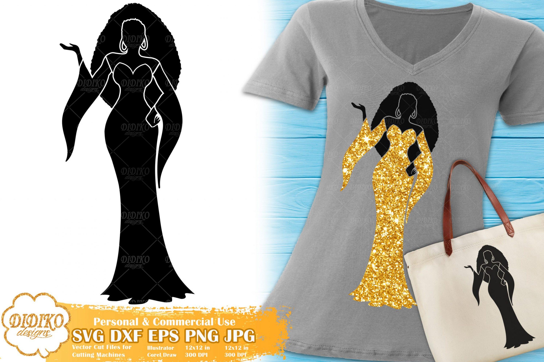 Black Woman Fashion SVG #18 | Afro Woman in Dress