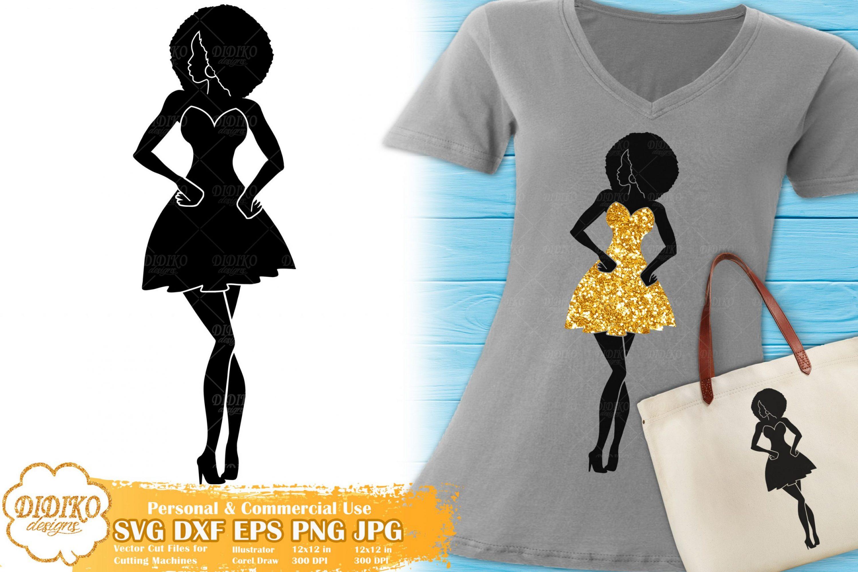 Black Woman Fashion SVG #8   Afro Woman in Dress