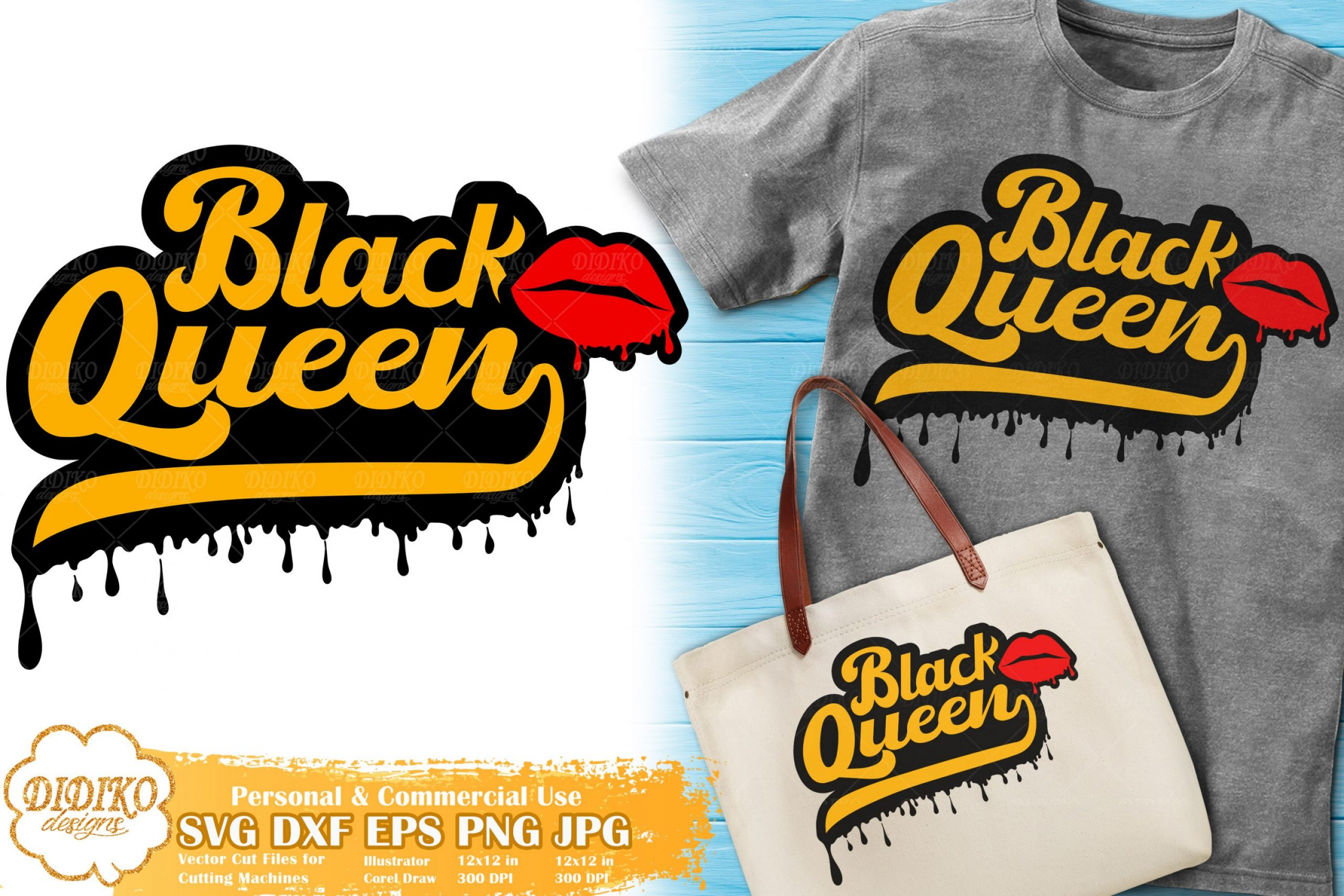 Black Queen SVG #8 | Dripping Lips svg | Black Woman