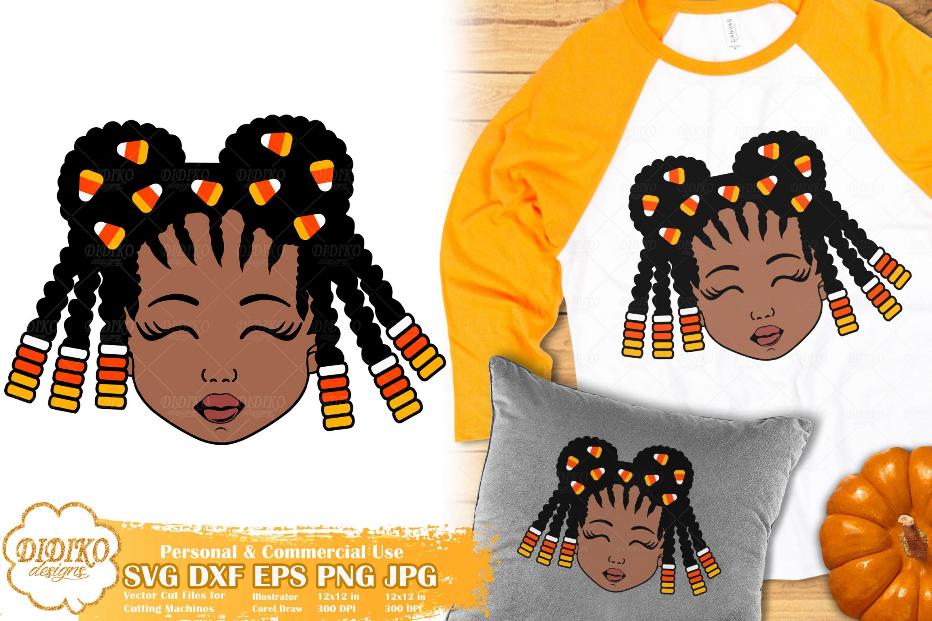 Halloween Black Girl SVG #4 | Candy Corn svg | Fall svg
