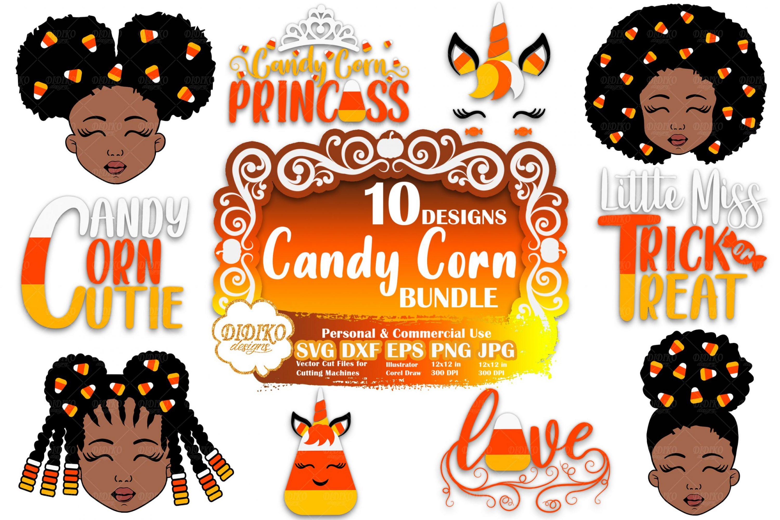 Halloween SVG Bundle | Black Girl Svg | Candy corn svg