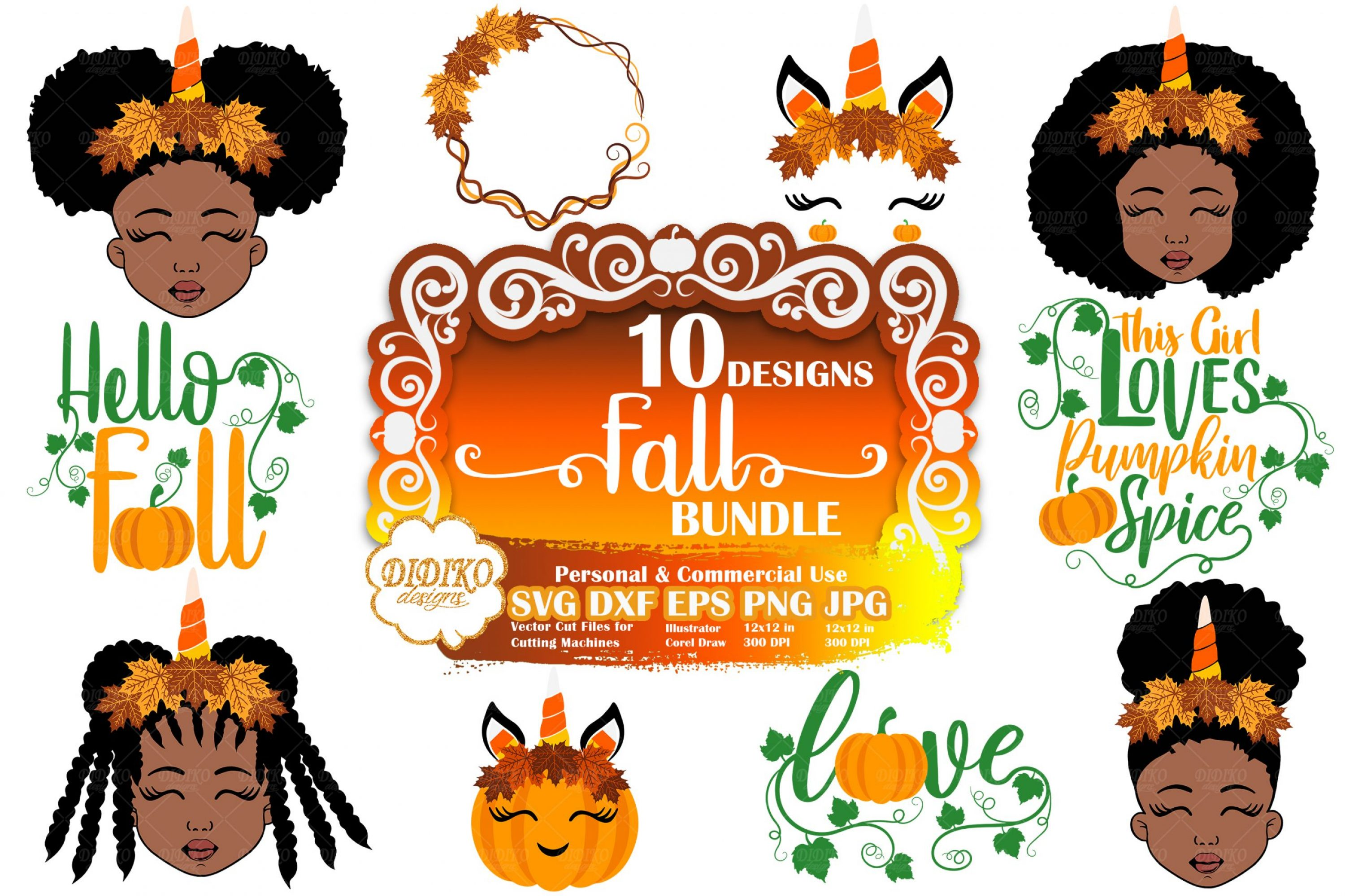 Fall SVG Bundle #1 | Black Girl SVG | Pumpkin Cut File