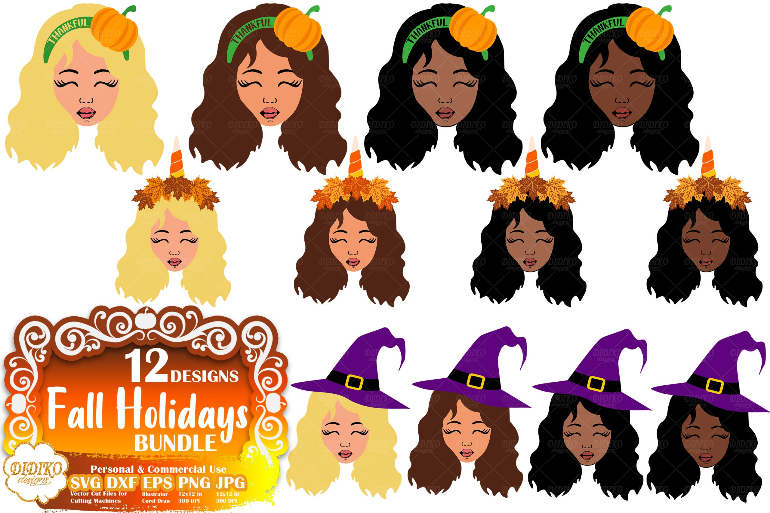 Fall Svg Bundle 2 Black Girl Svg Halloween Svg Thanksgiving Svg Didiko Designs
