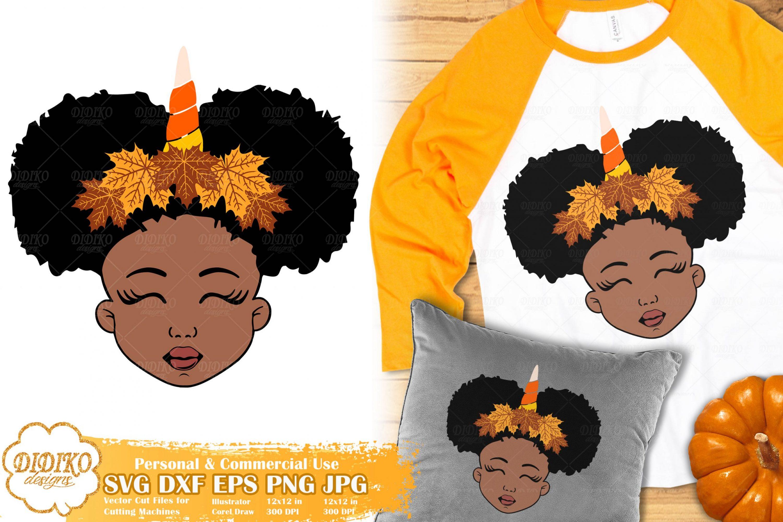 Fall Black Girl SVG #1   Fall Unicorn svg   Halloween svg