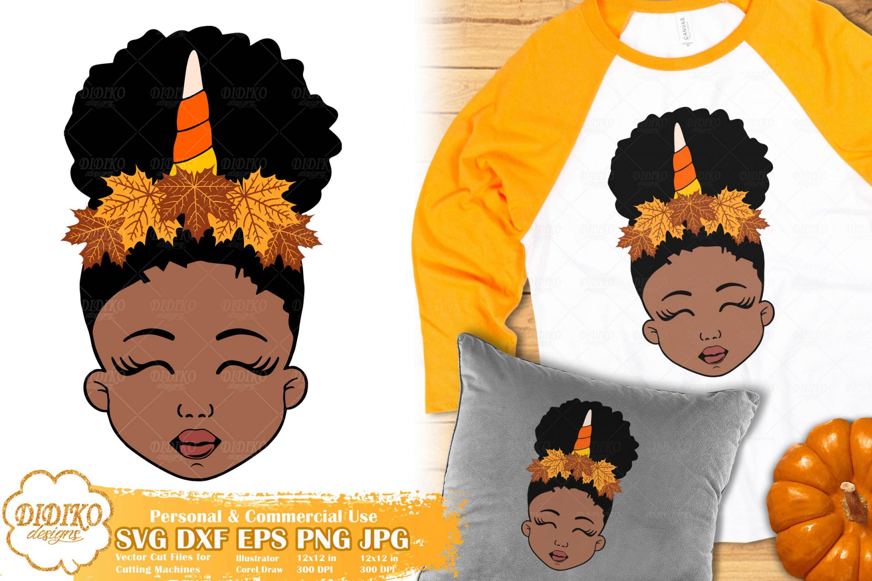 Fall Black Girl SVG #2 | Fall Unicorn svg | Halloween svg