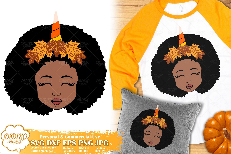 Fall Black Girl SVG #3 | Fall Unicorn svg | Halloween svg