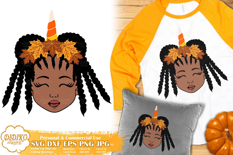 Fall Black Girl SVG #4 | Fall Unicorn svg | Halloween svg