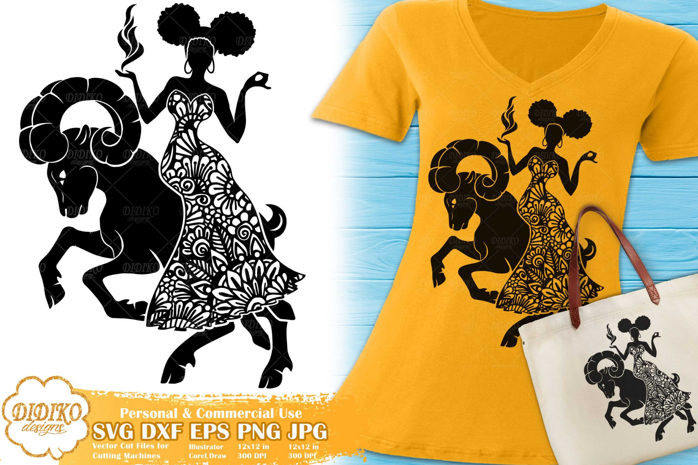 Aries SVG| Black Woman SVG | Zentangle Cricut File