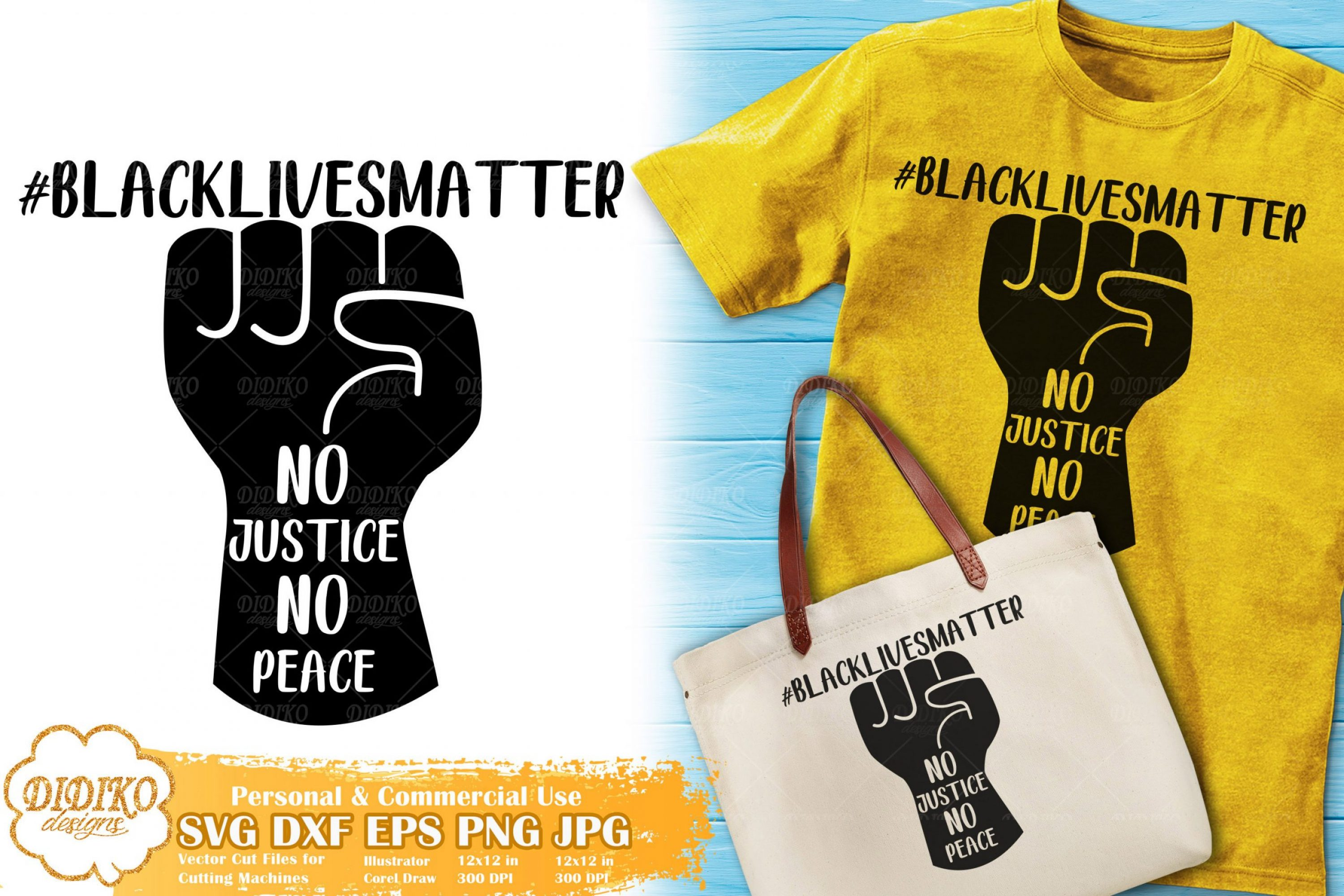 No Justice No Peace SVG #4 | Raised Fist SVG Cut File