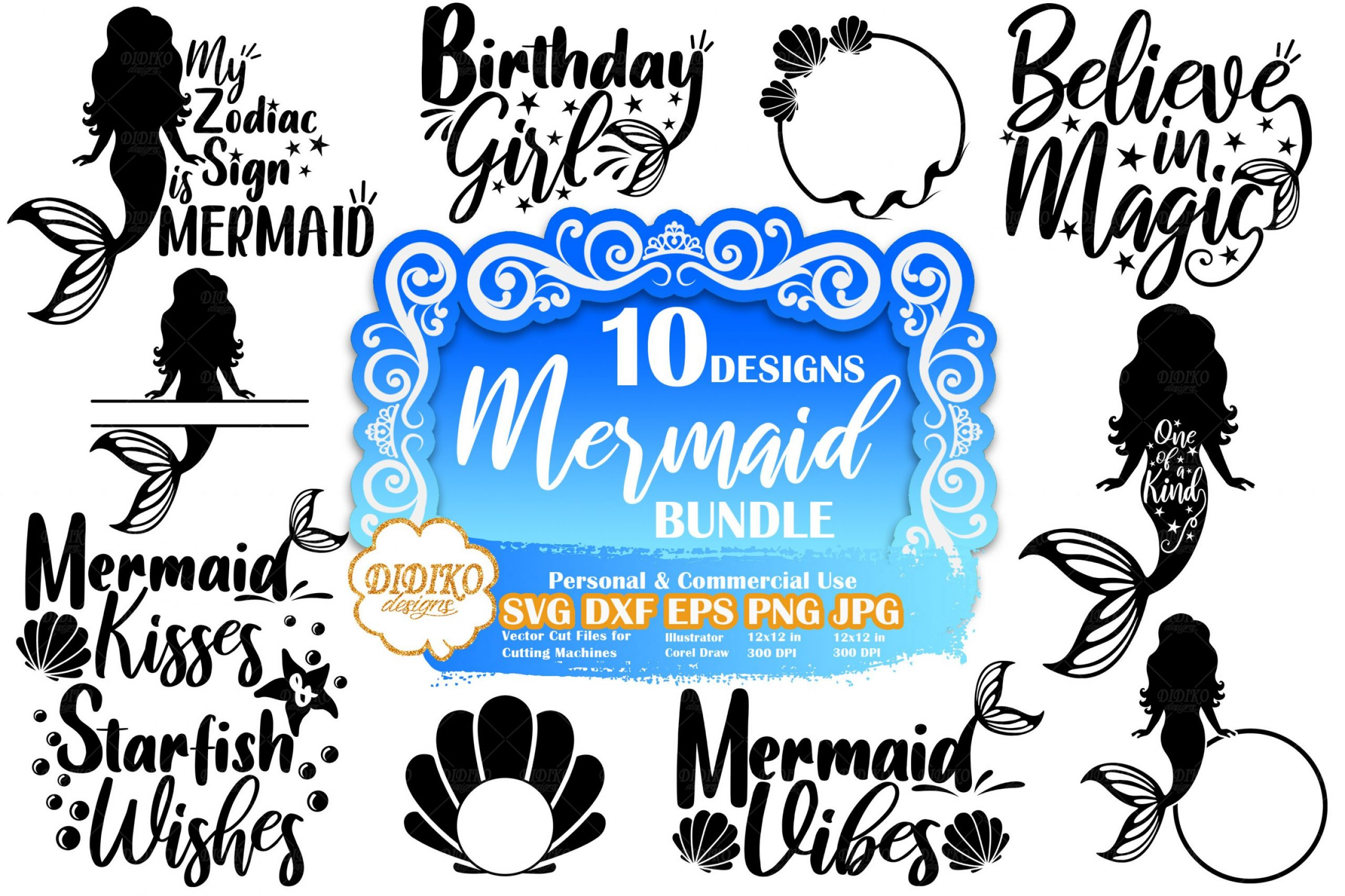 Mermaid SVG Bundle #1 | Mermaid Quote Svg | Cut File