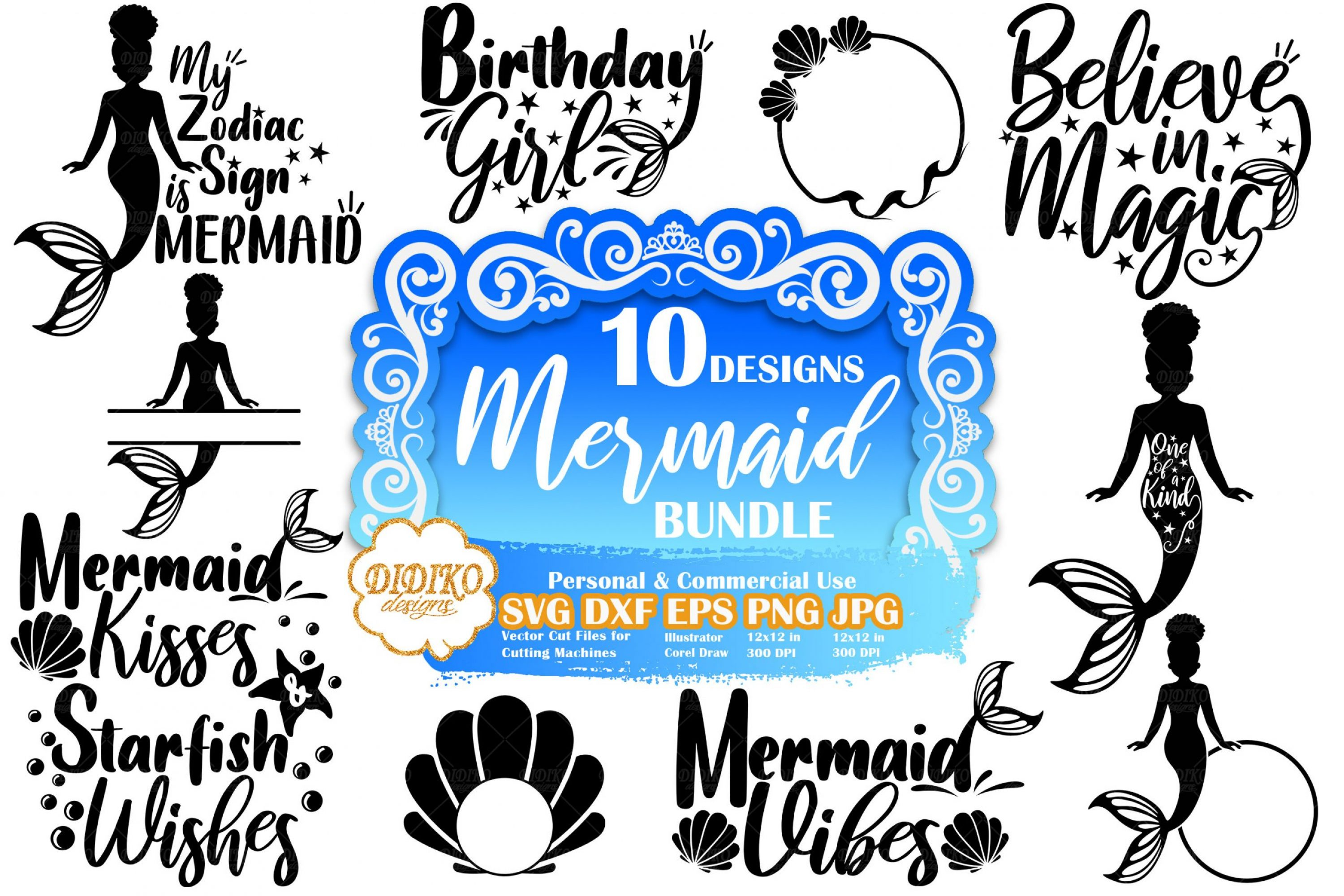Mermaid SVG Bundle #3 | Mermaid Quote Svg | Cut File