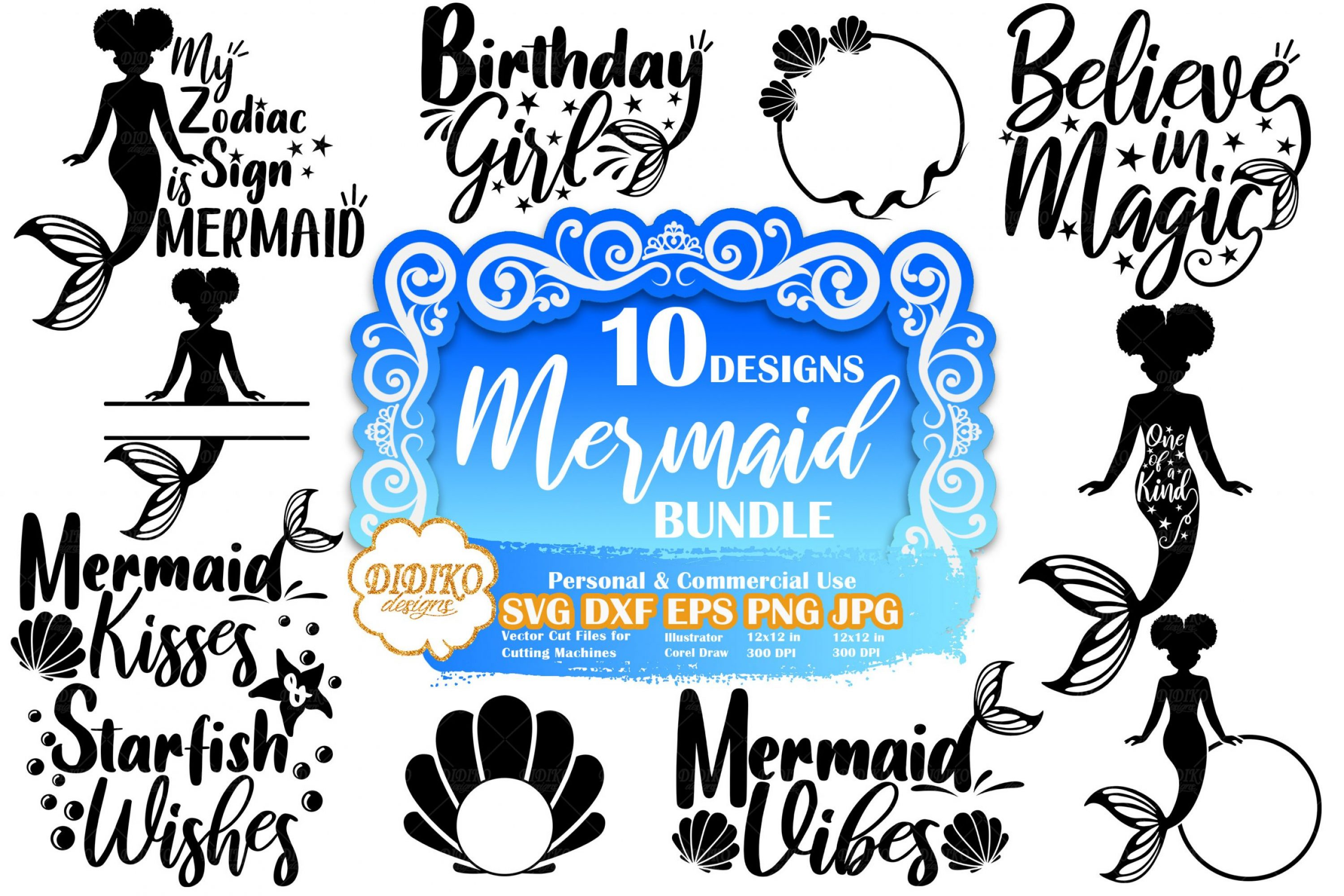 Mermaid SVG Bundle #2 | Mermaid Quote Svg | Cut File