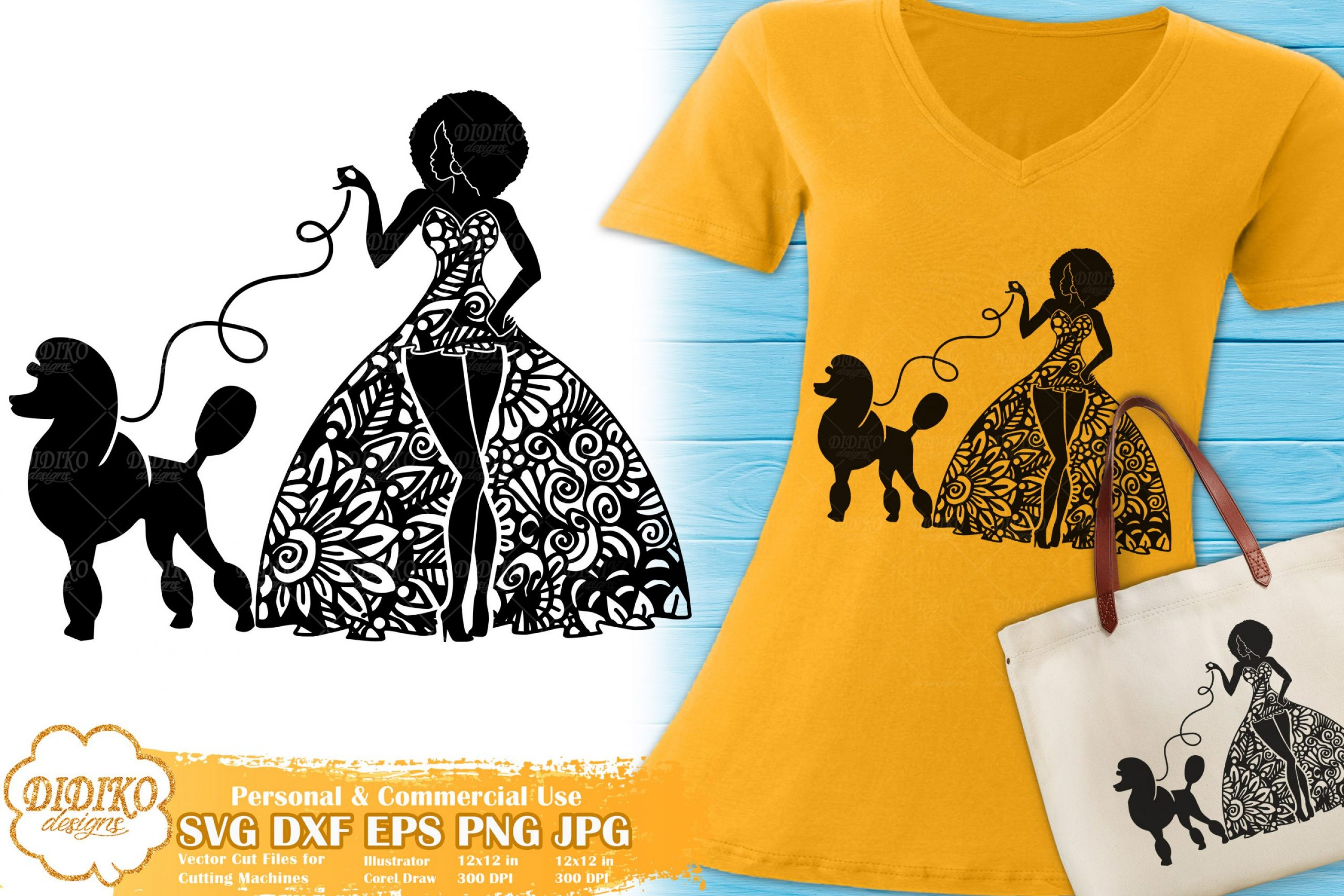 Black Woman Fashion SVG #7 | Zentangle Woman with Poodle SVG