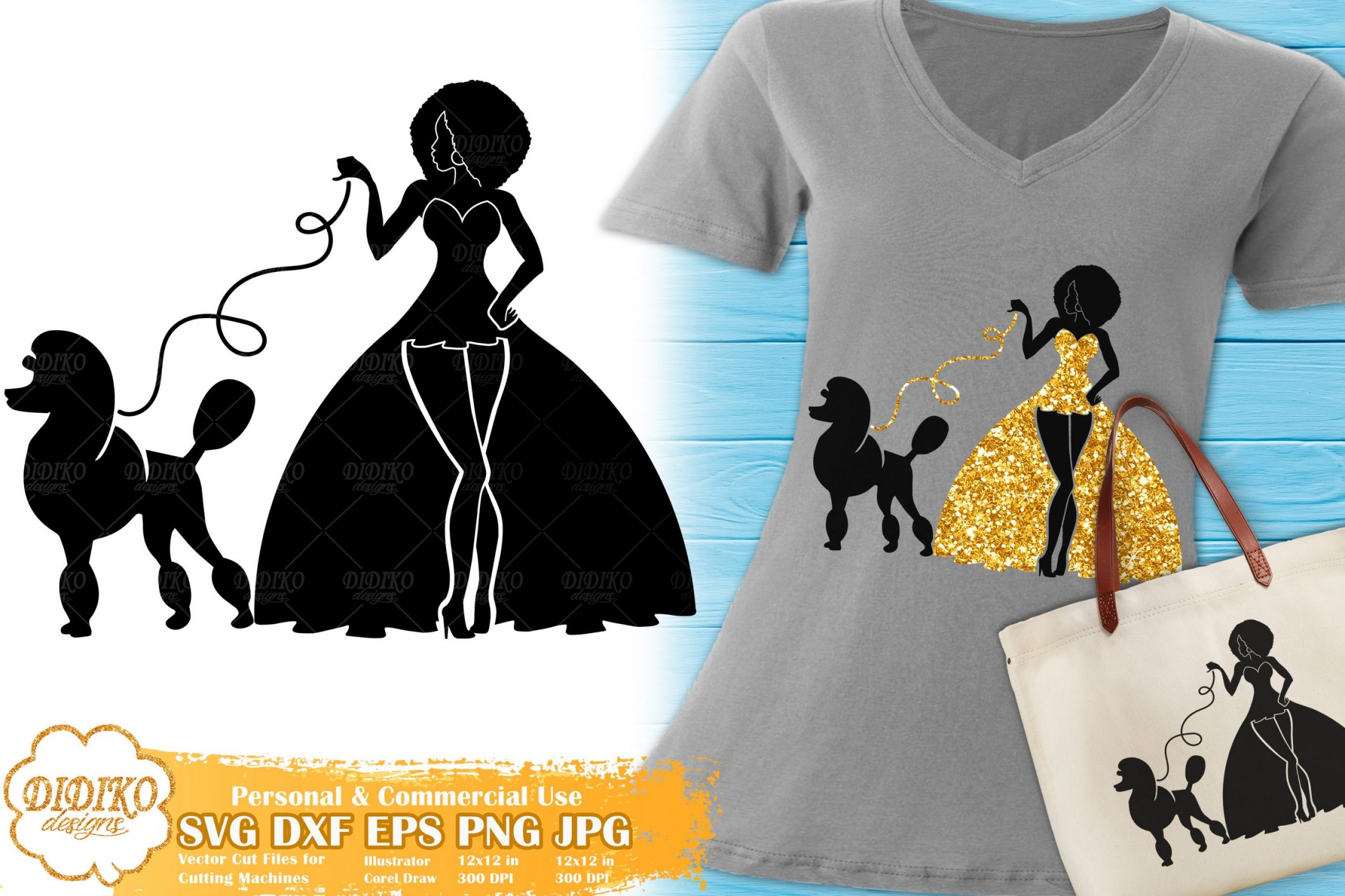 Black Woman Fashion SVG #13 | Afro Woman with Poodle