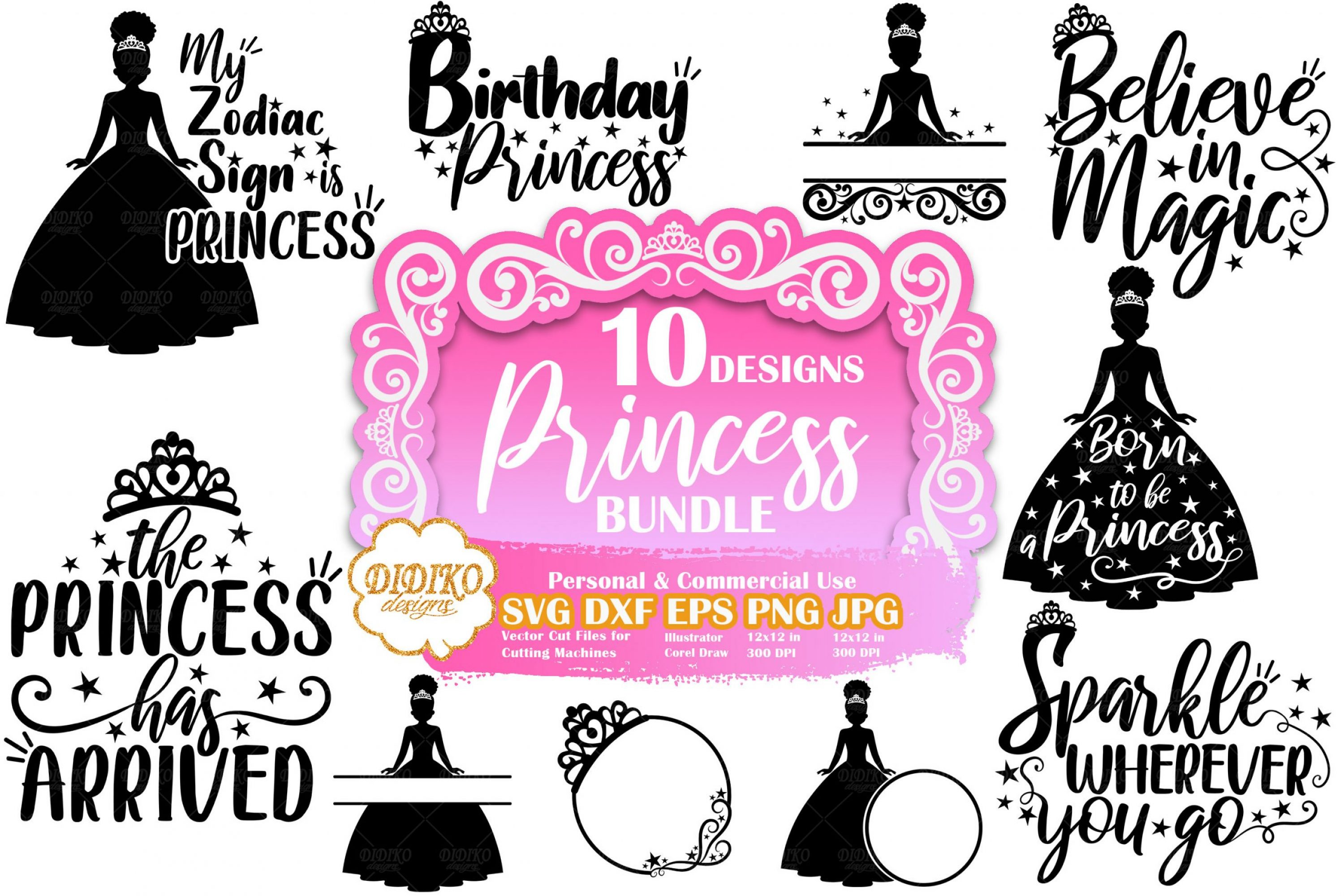 Princess SVG Bundle #3 | Princess Quote Svg | Cut File