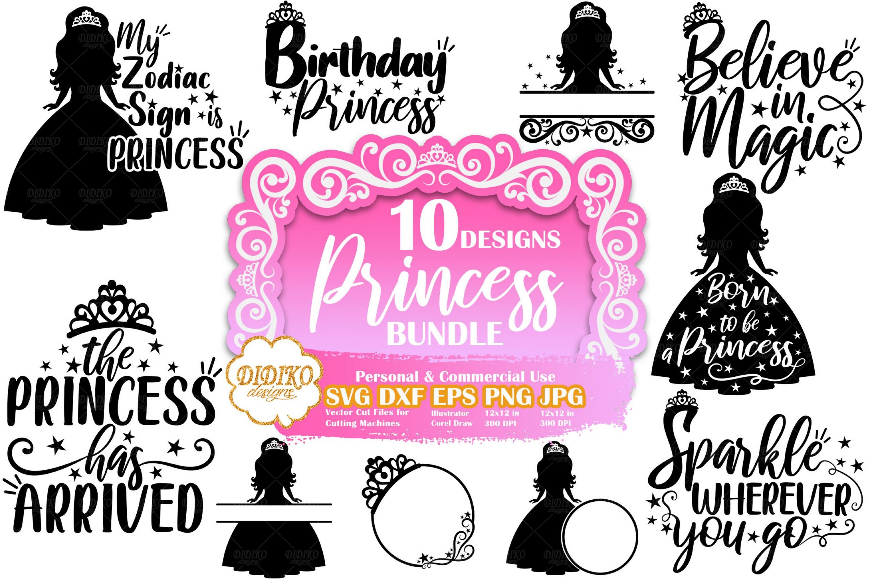 Princess SVG Bundle #1 | Princess Quote Svg | Cut File