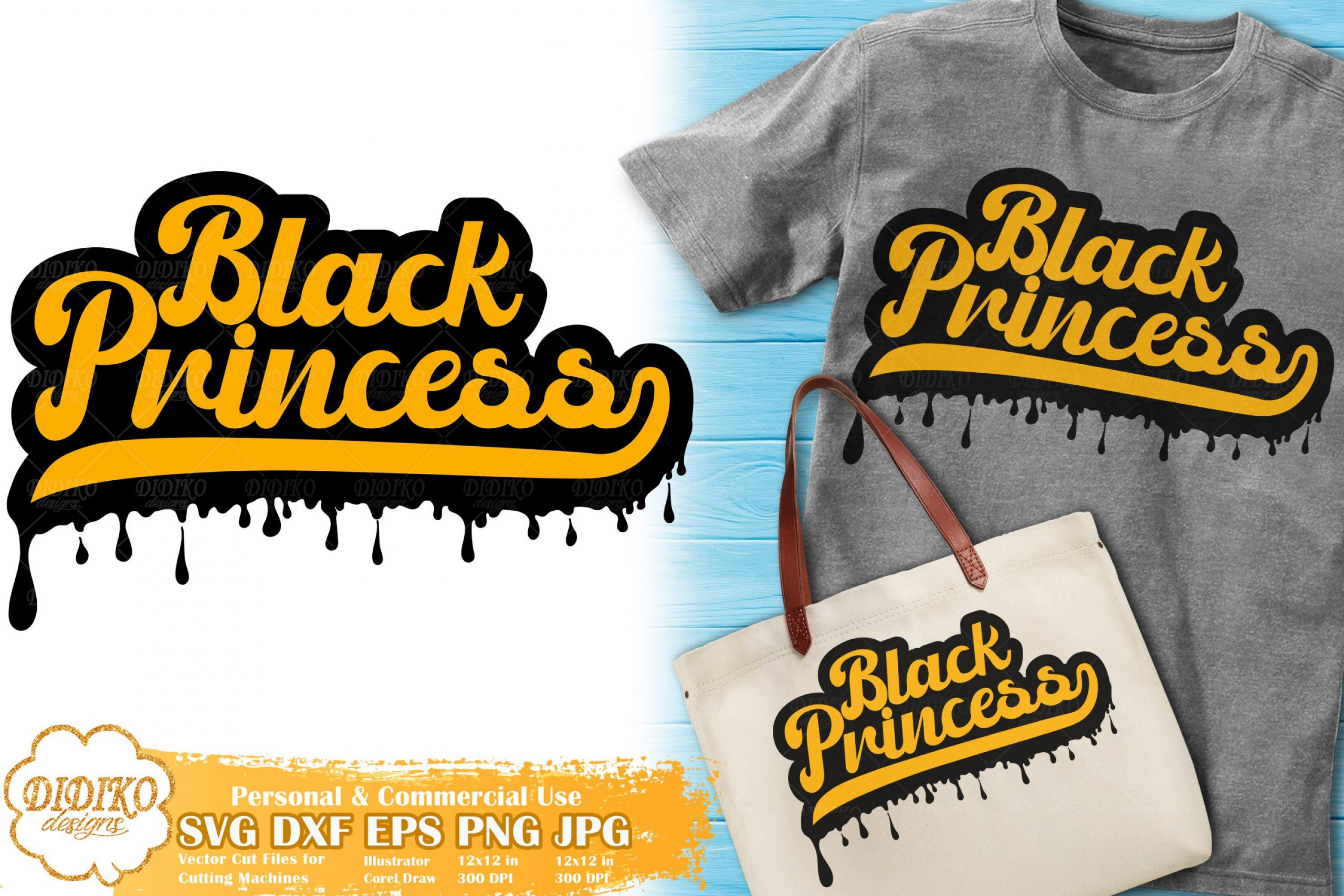 Black Princess SVG #10 | Dripping Svg | Black Girl Retro