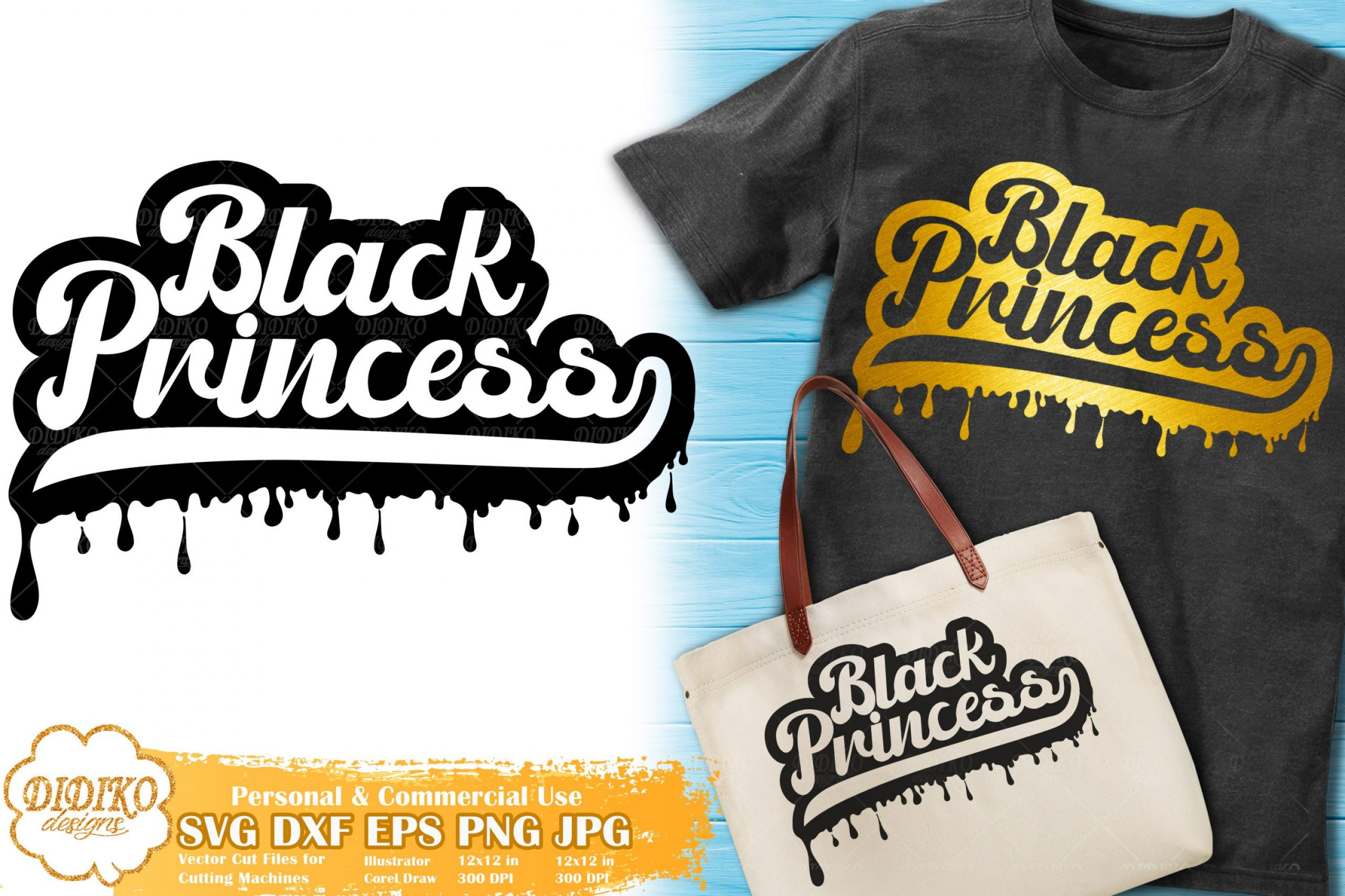 Black Princess SVG #8 | Dripping Svg | Black Girl Retro